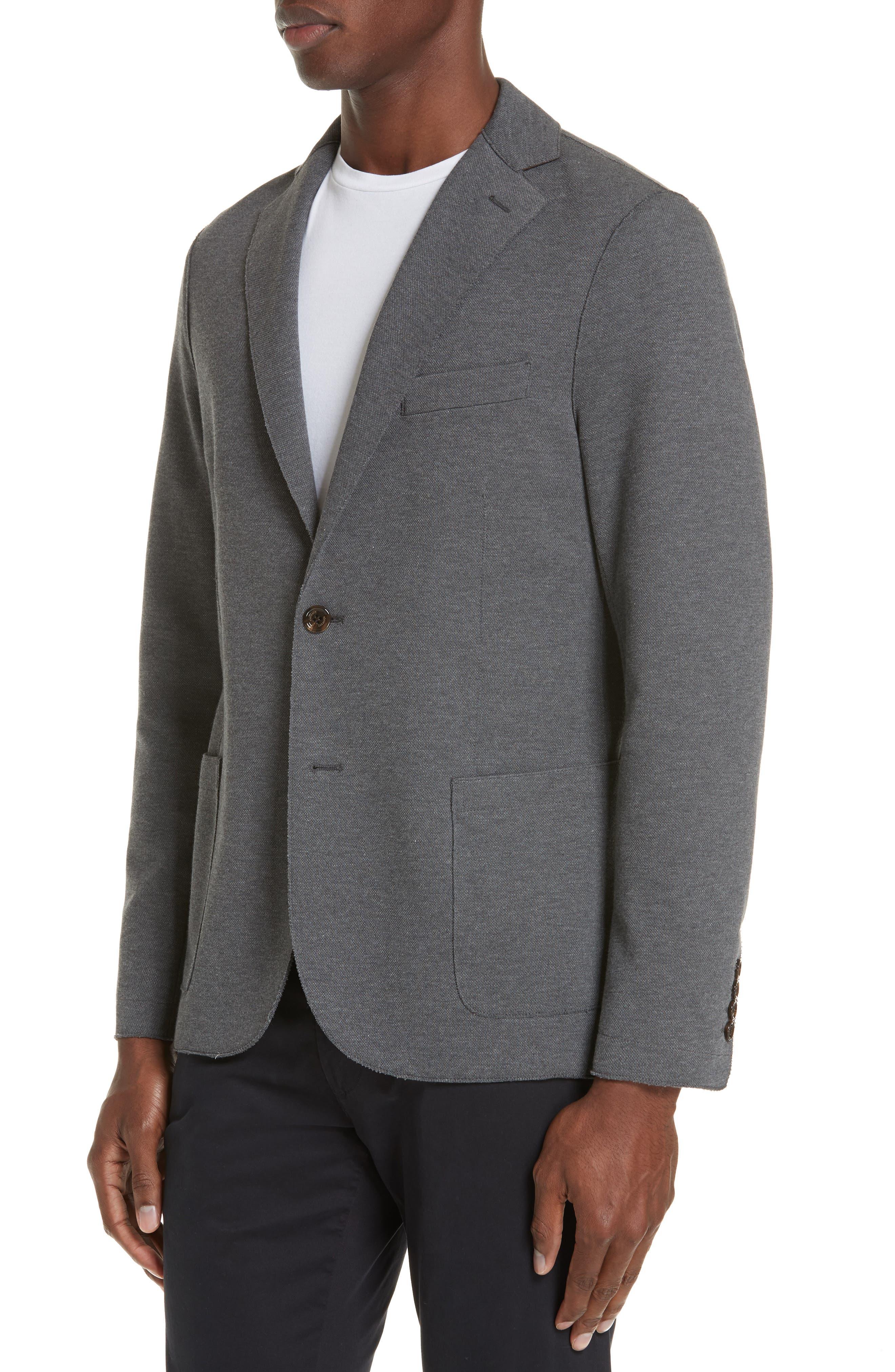 Slim Fit Stretch Cotton Blend Sport Coat,                             Alternate thumbnail 4, color,                             MED GREY