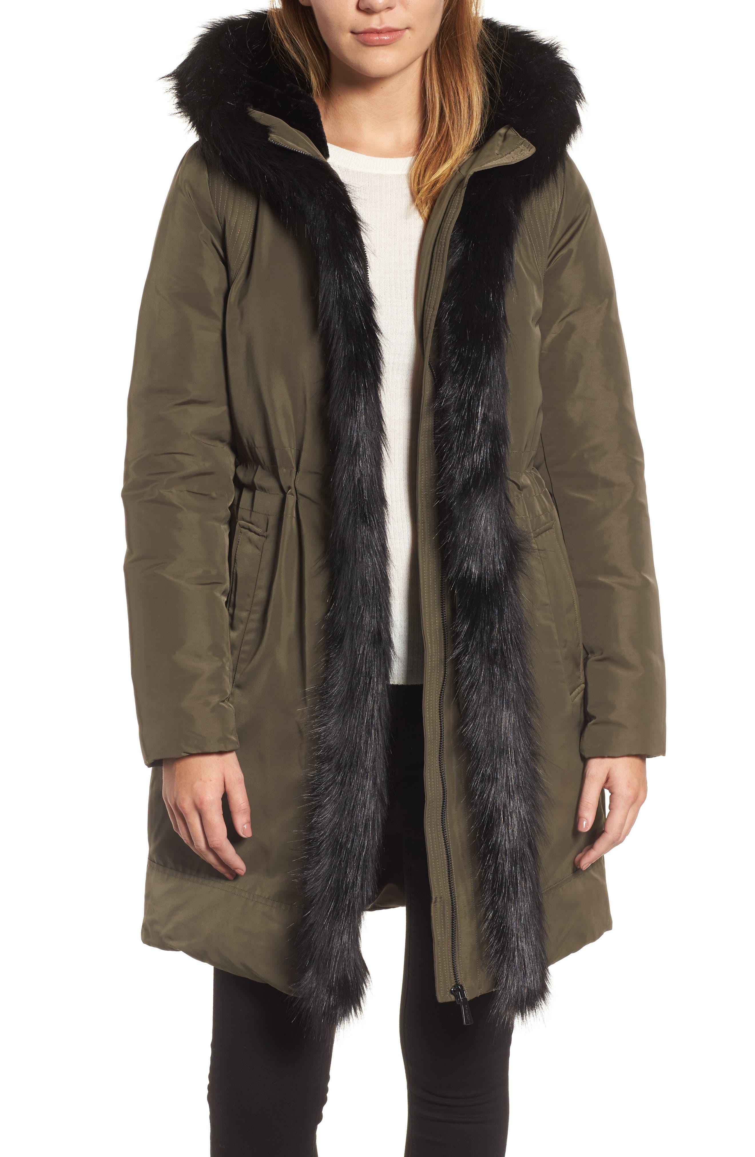 DKNY Prato Faux Fur Trim Down Parka,                         Main,                         color, 317