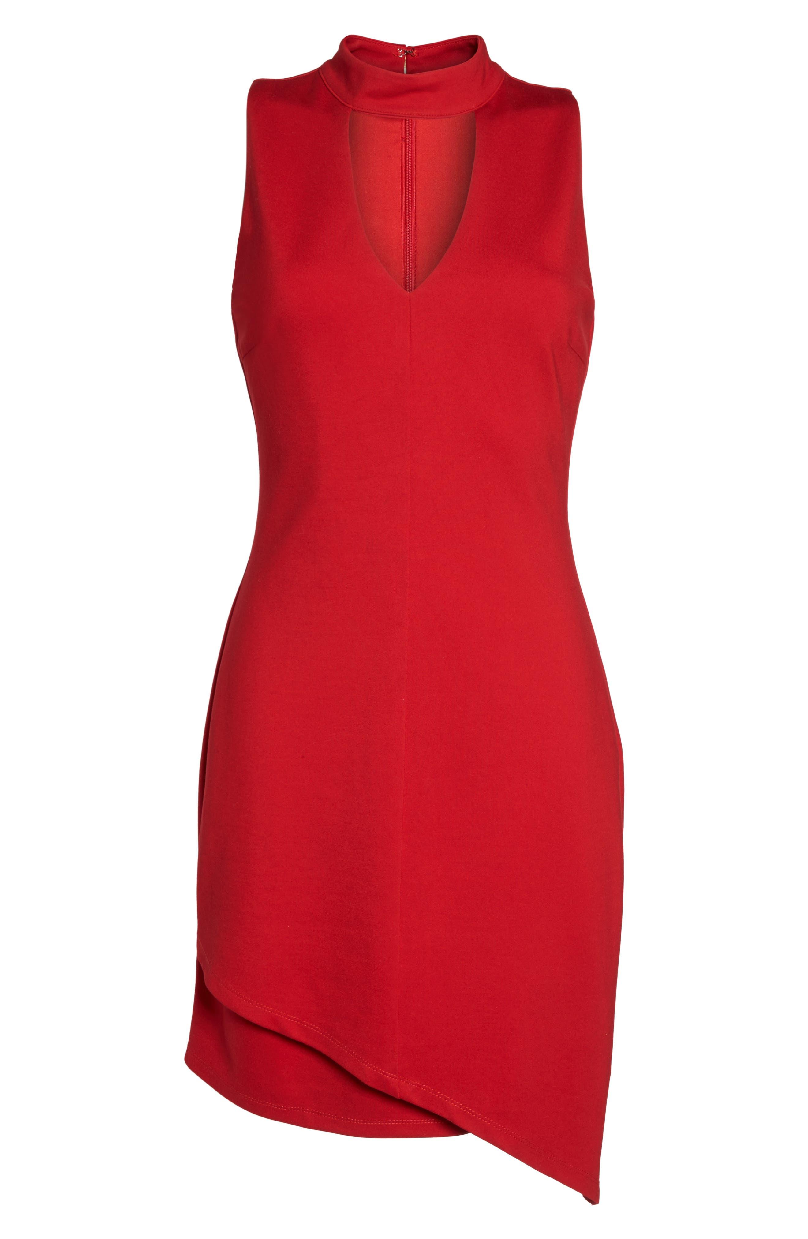 Choker Asymmetrical Body-Con Dress,                             Alternate thumbnail 6, color,