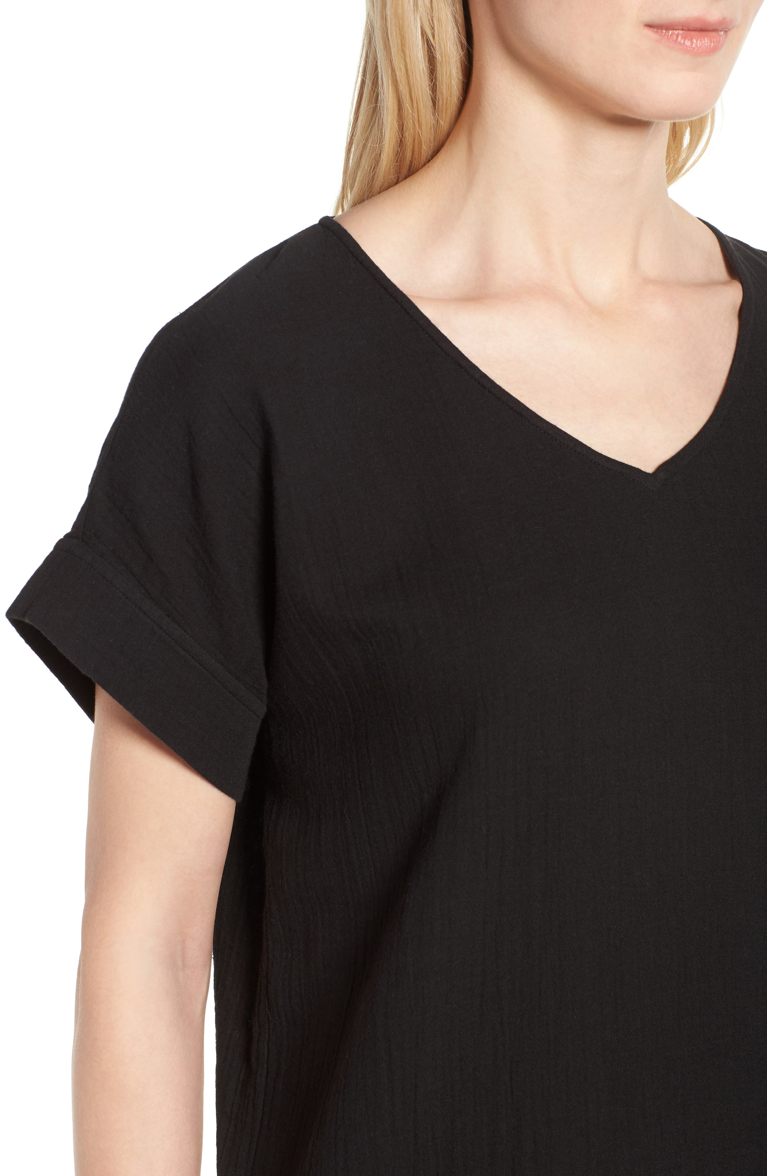V-Neck Cotton Midi Dress,                             Alternate thumbnail 4, color,                             001