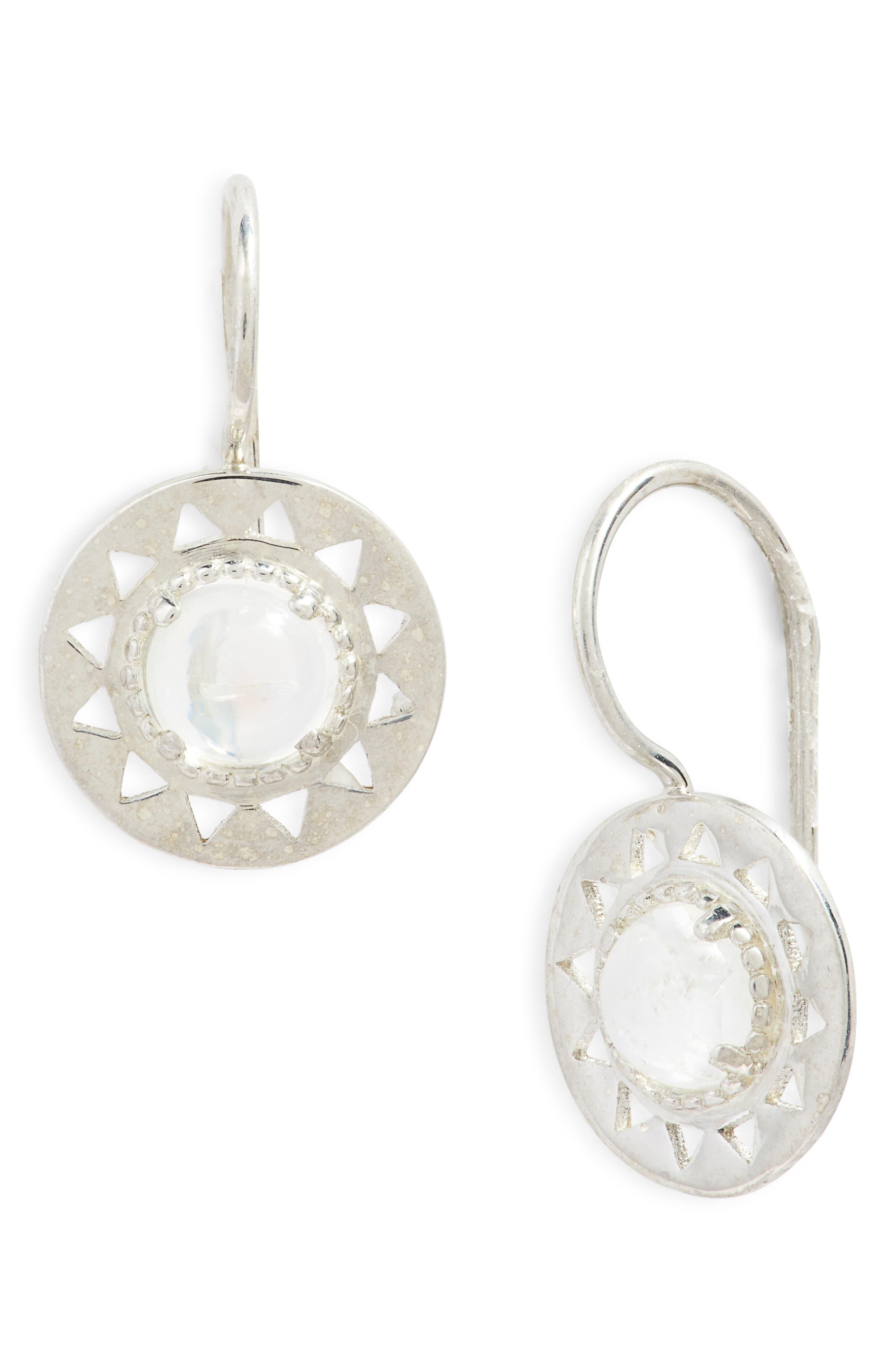 Aztec Moonstone Drop Earrings,                         Main,                         color, SILVER