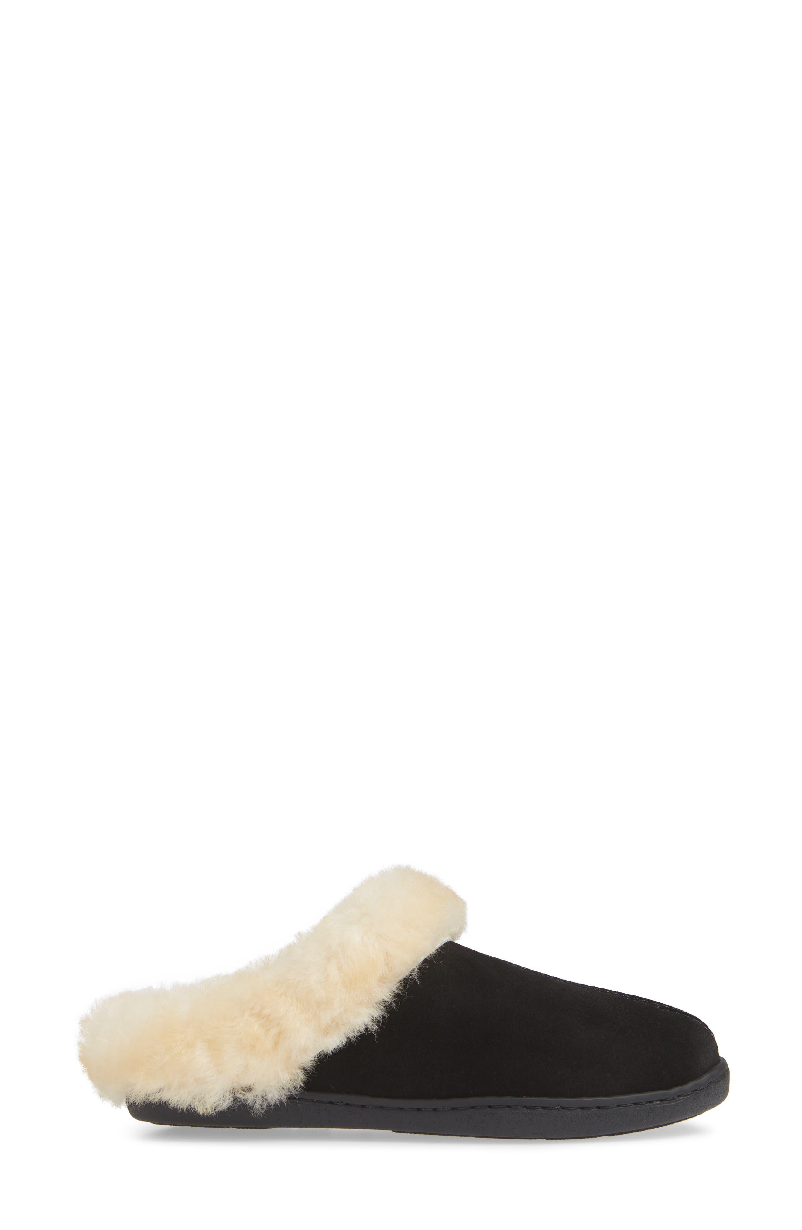 SheepskinMule Slipper,                             Alternate thumbnail 3, color,                             BLACK SUEDE