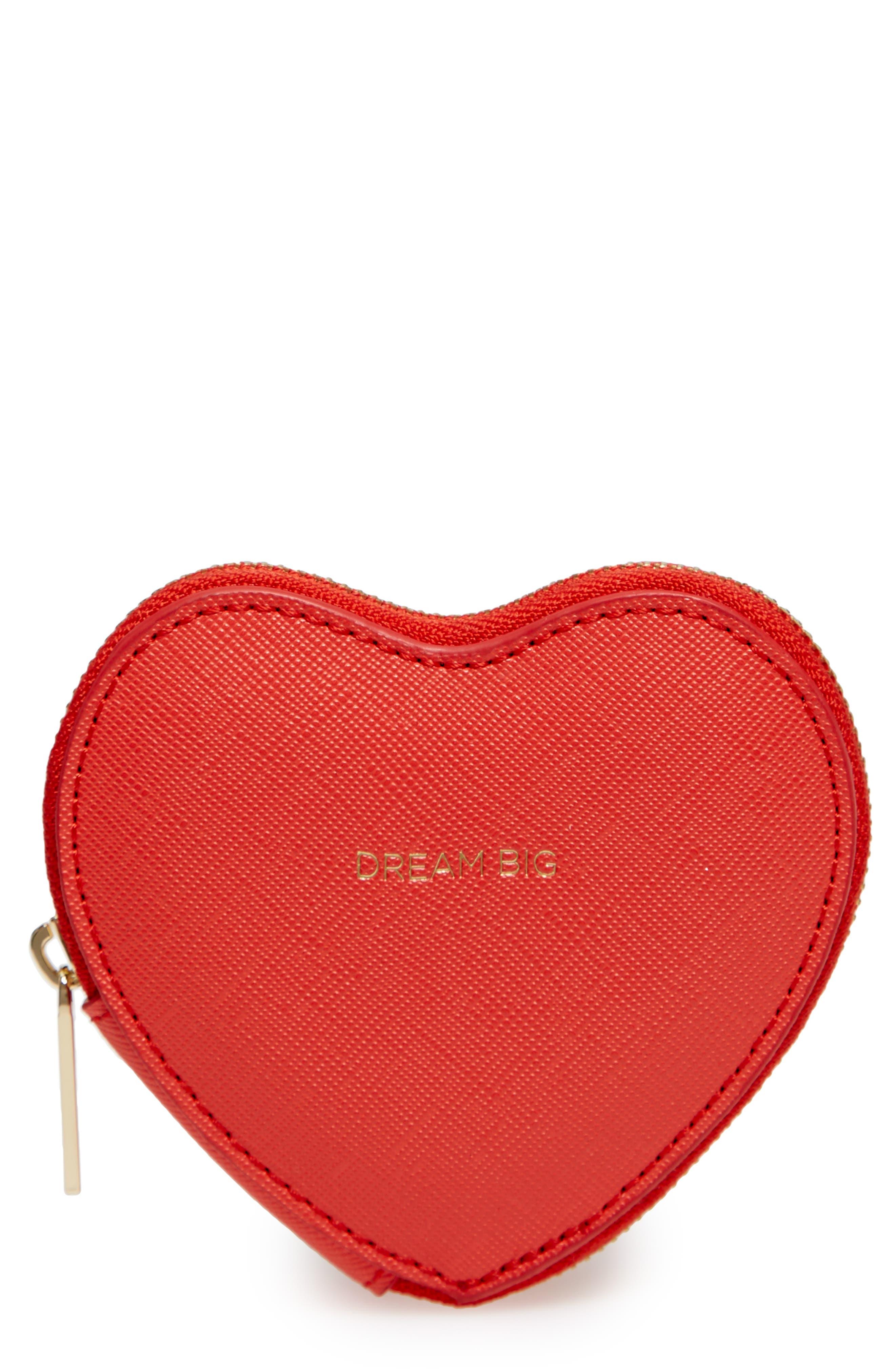 Dream Big Heart Faux Leather Coin Purse,                             Main thumbnail 1, color,                             601