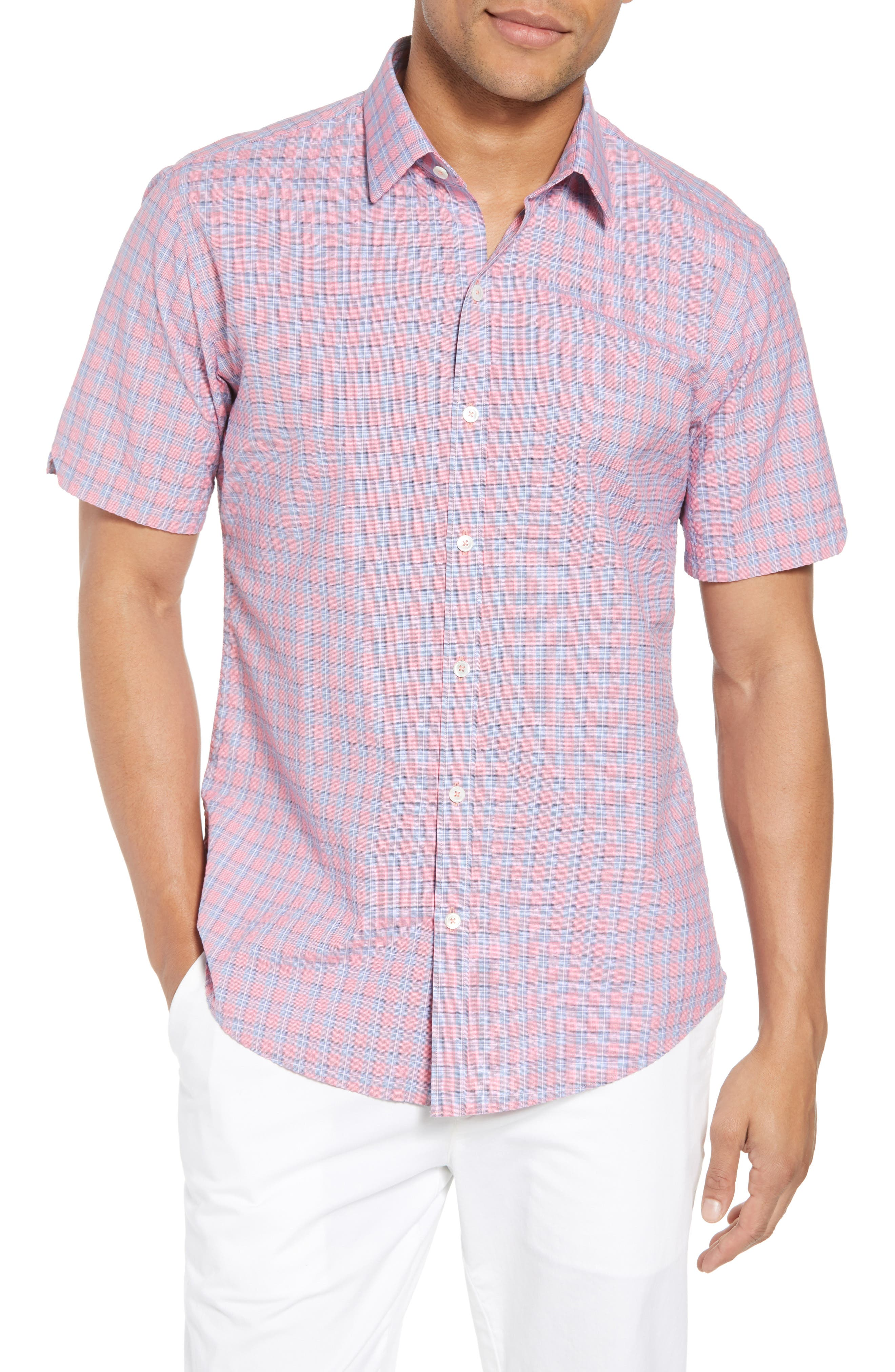 Luna Trim Fit Seersucker Sport Shirt,                             Main thumbnail 1, color,                             FADED RED