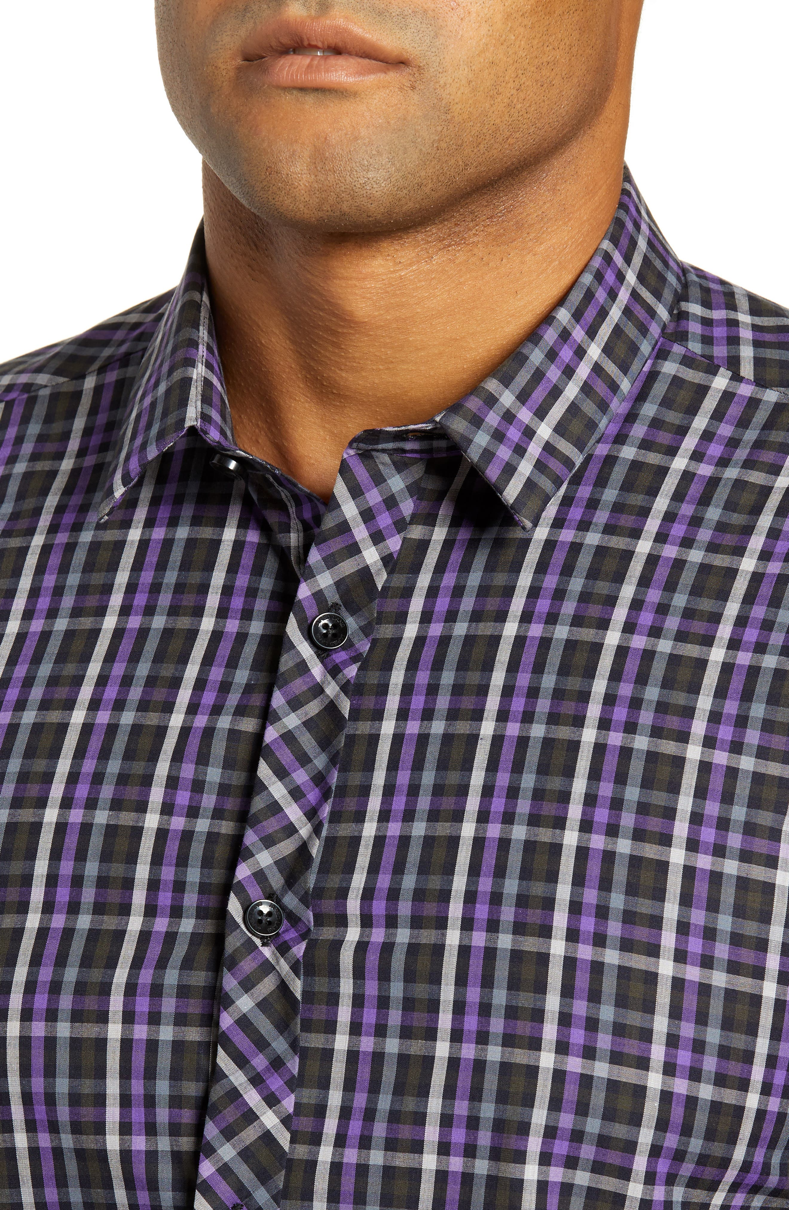 Trim Fit Sport Shirt,                             Alternate thumbnail 2, color,                             PURPLE - BLACK MULTI CHECK