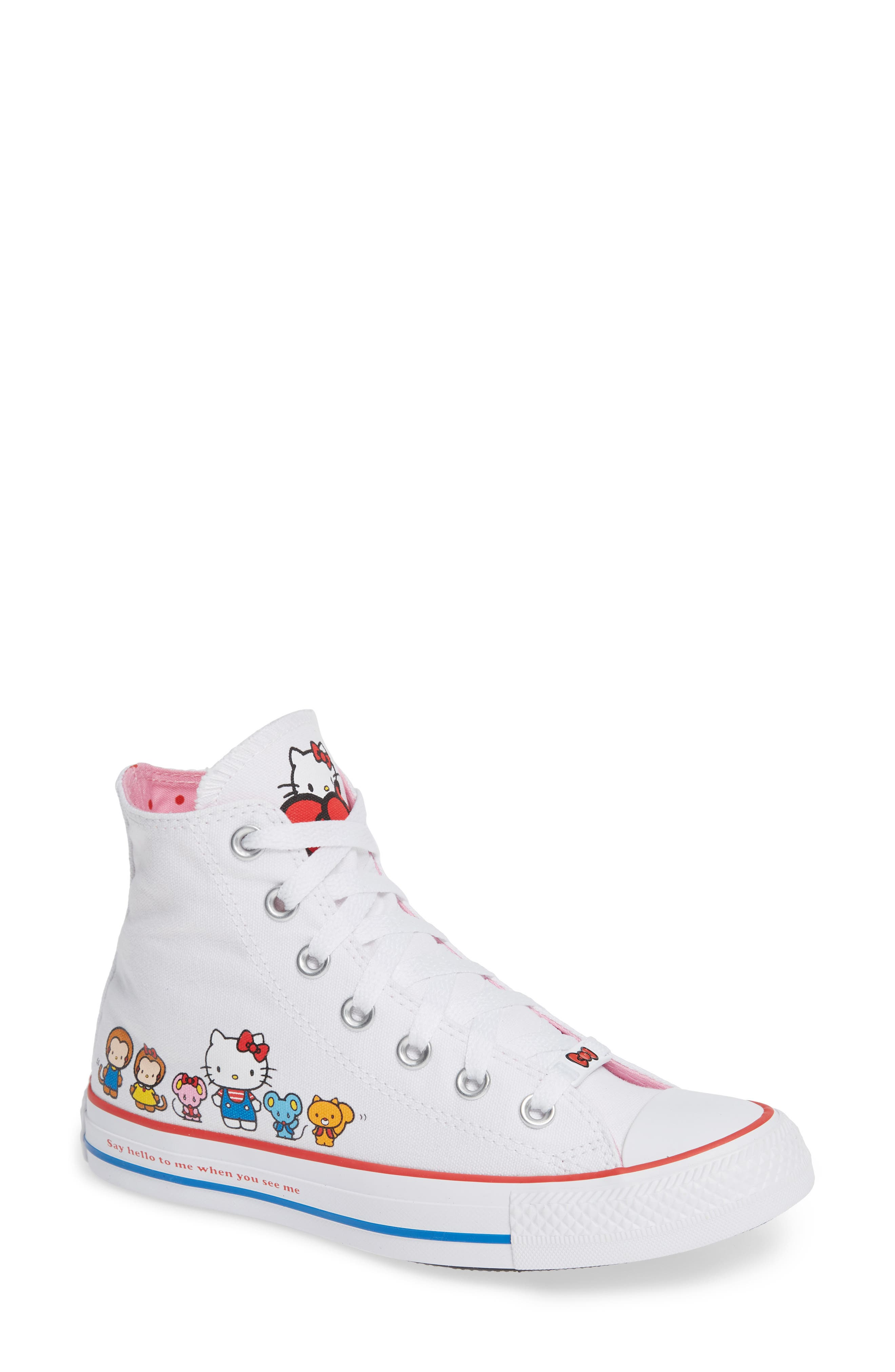 Chuck Taylor<sup>®</sup> All Star<sup>®</sup> Hello Kitty High Top Sneaker,                             Main thumbnail 1, color,                             102