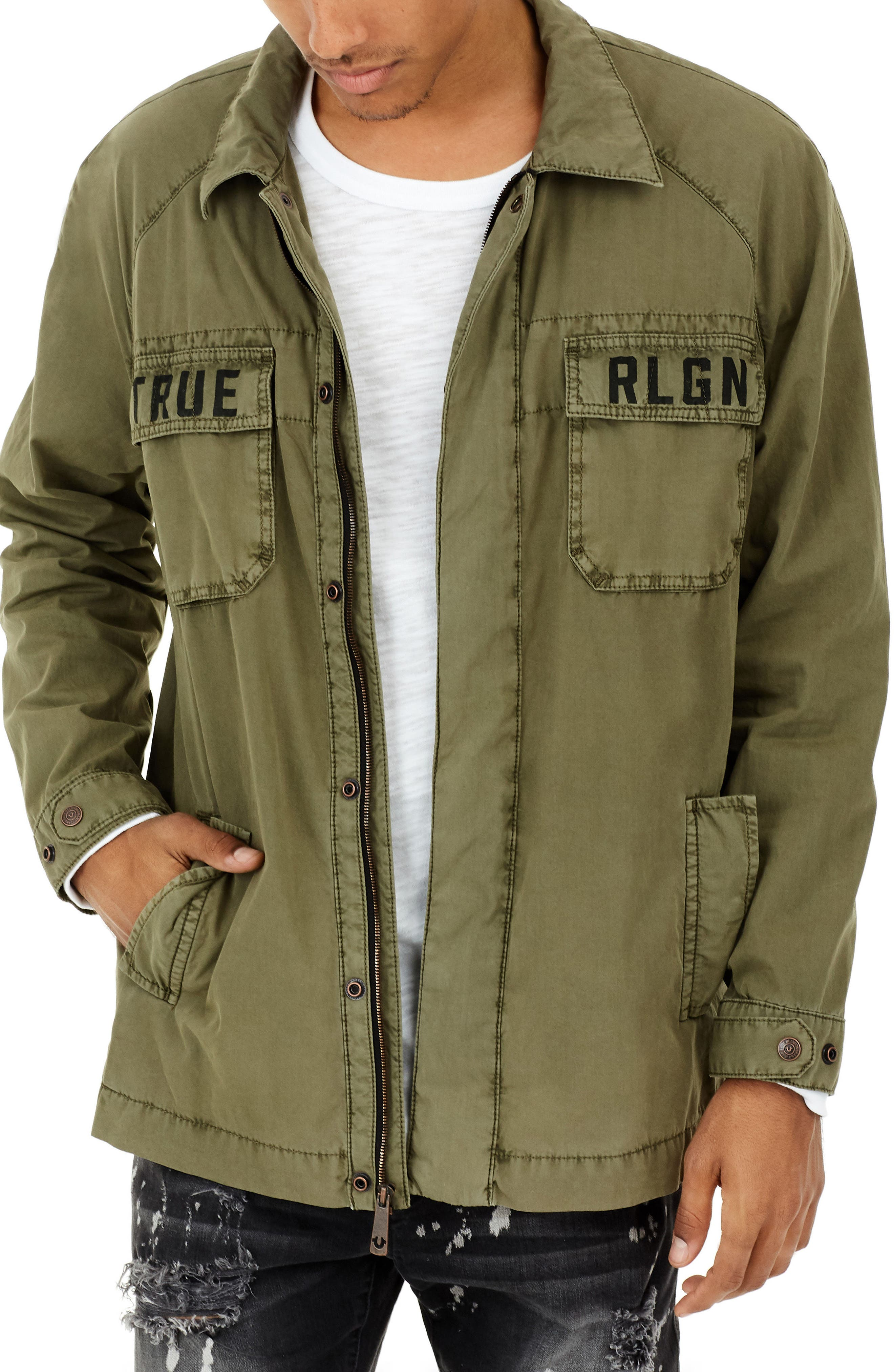 True Religion Digital Harness Strap Field Jacket,                         Main,                         color,
