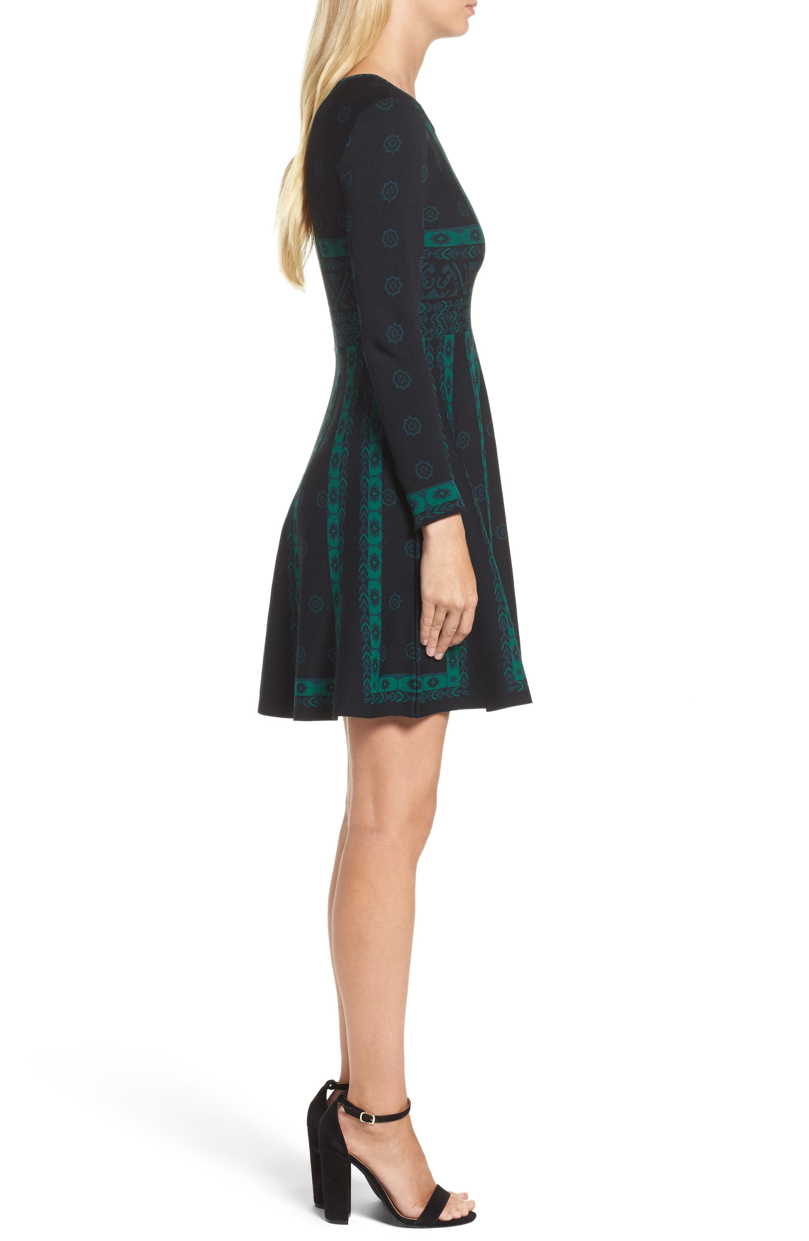 Pattern Double-Knit Fit & Flare Dress,                             Alternate thumbnail 3, color,                             396