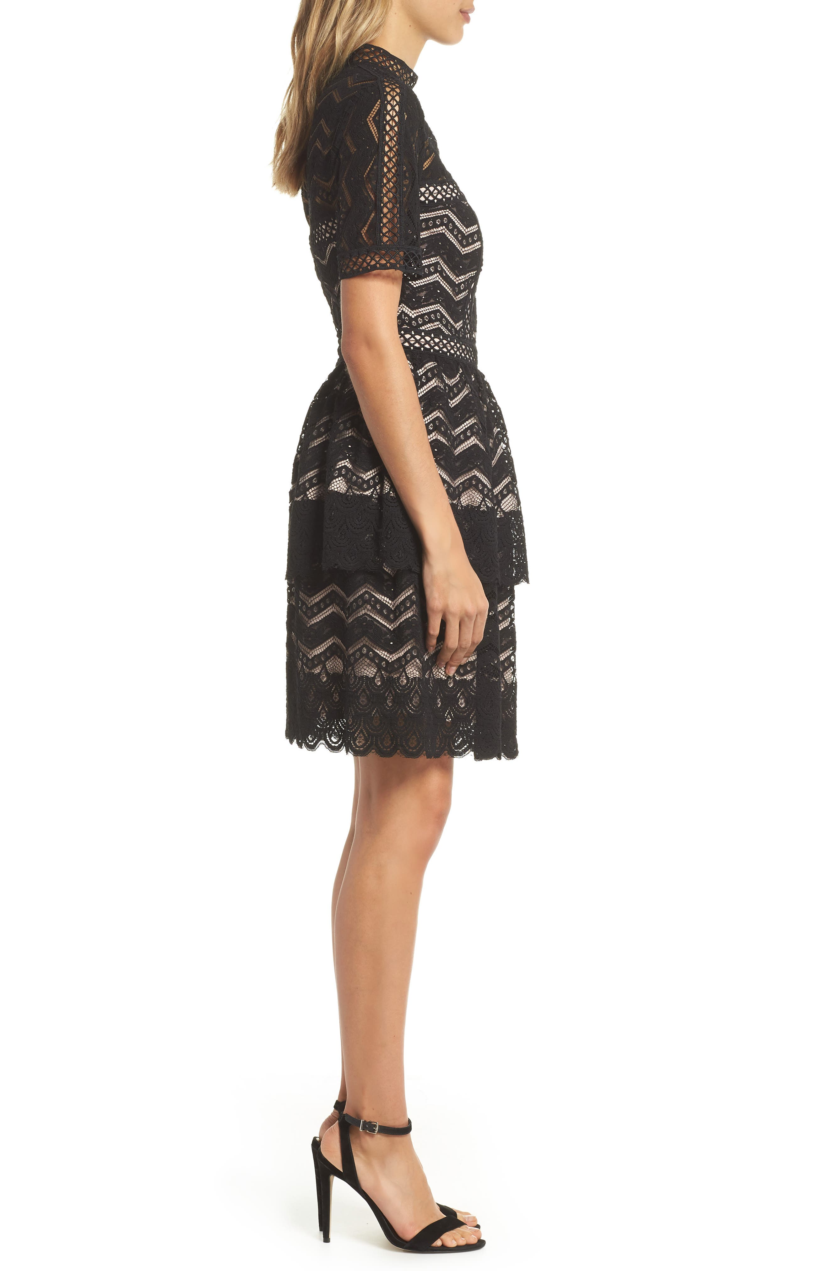 Tiered Lace Fit & Flare Dress,                             Alternate thumbnail 3, color,                             001