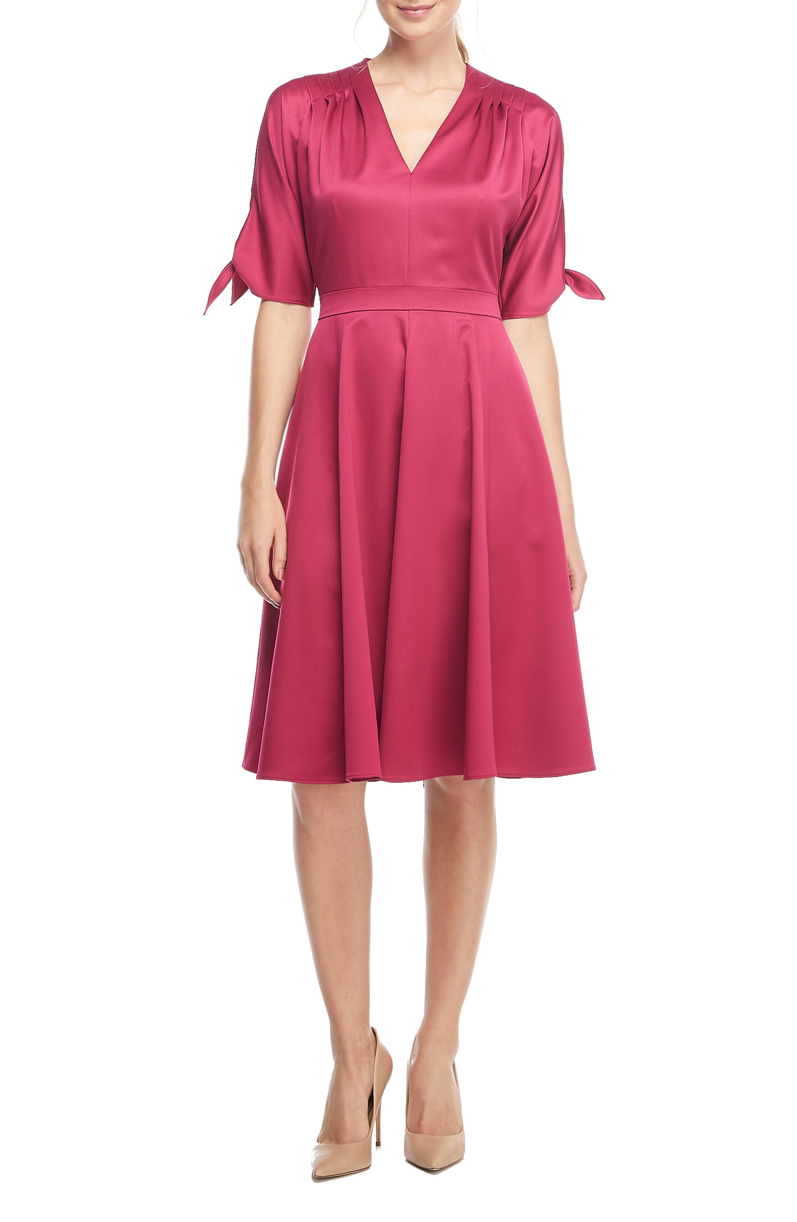 Gal Meets Glam Collection Debbie Butter Satin Fit & Flare Dress, Pink