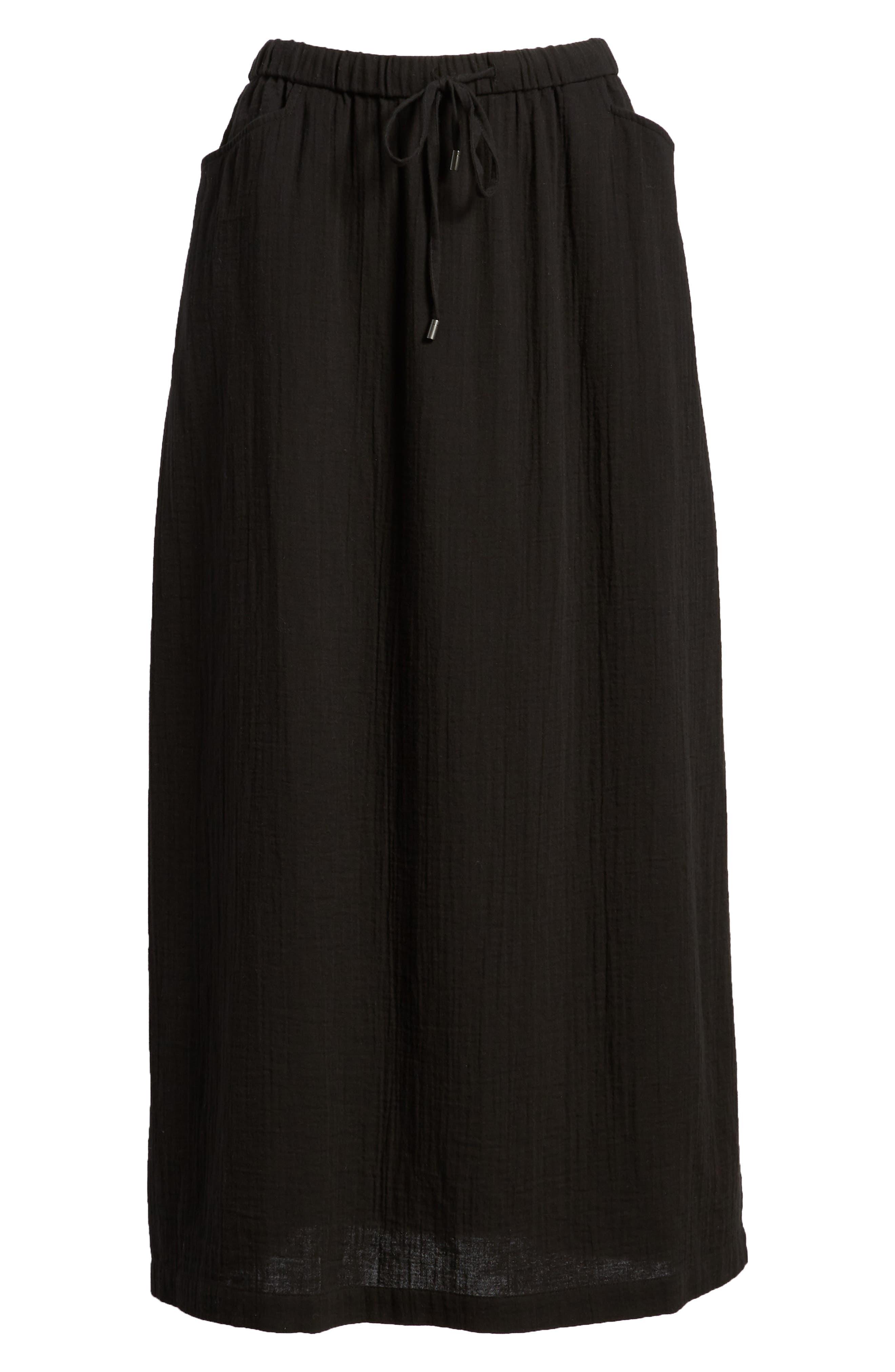 EILEEN FISHER,                             Drawstring Organic Cotton Midi Skirt,                             Alternate thumbnail 6, color,                             001