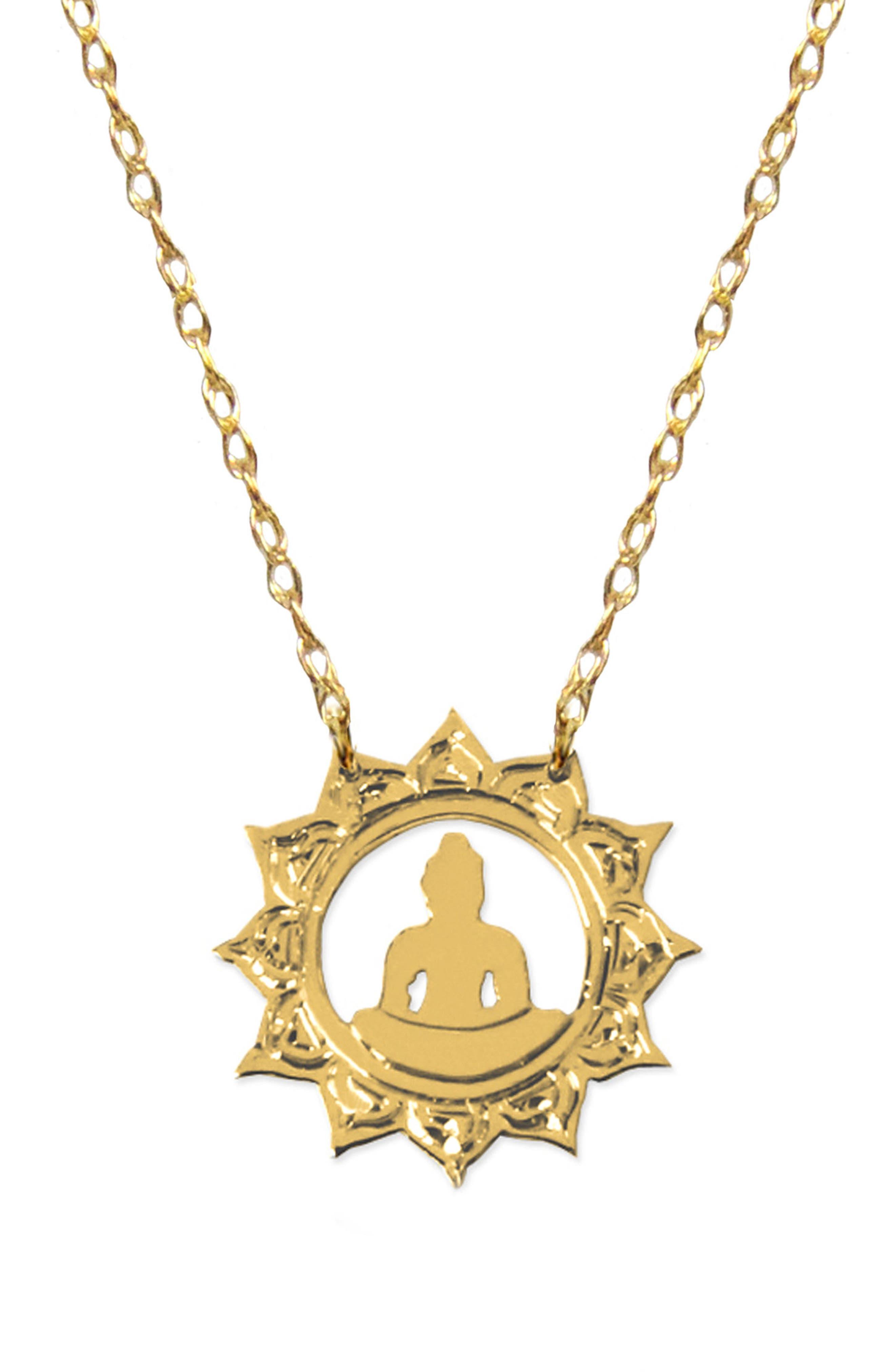 Buddha Emoji Pendant Necklace,                             Main thumbnail 1, color,                             710