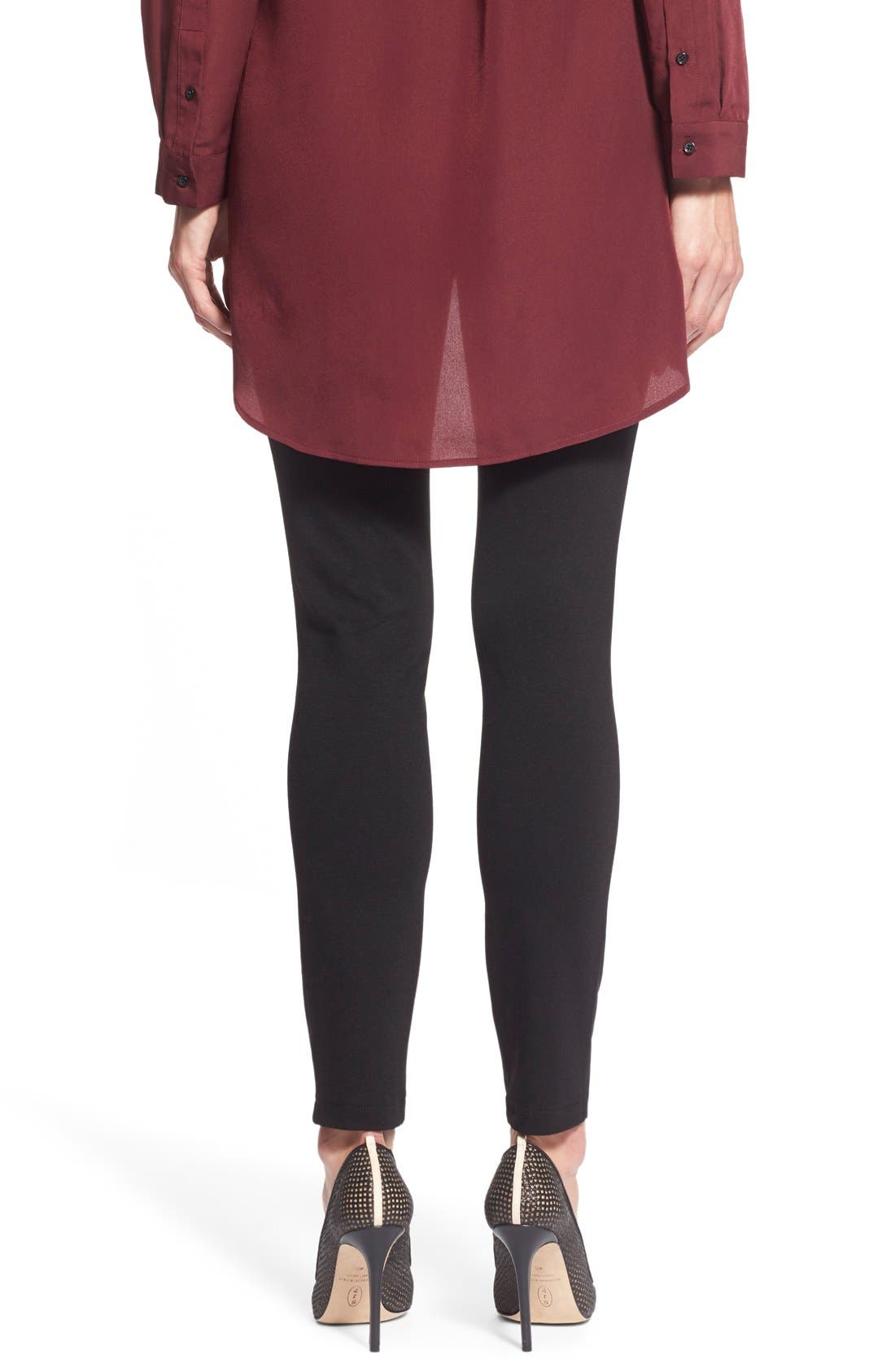 Two by Vince Camuto Faux Suede & Ponte Leggings,                             Alternate thumbnail 3, color,                             001