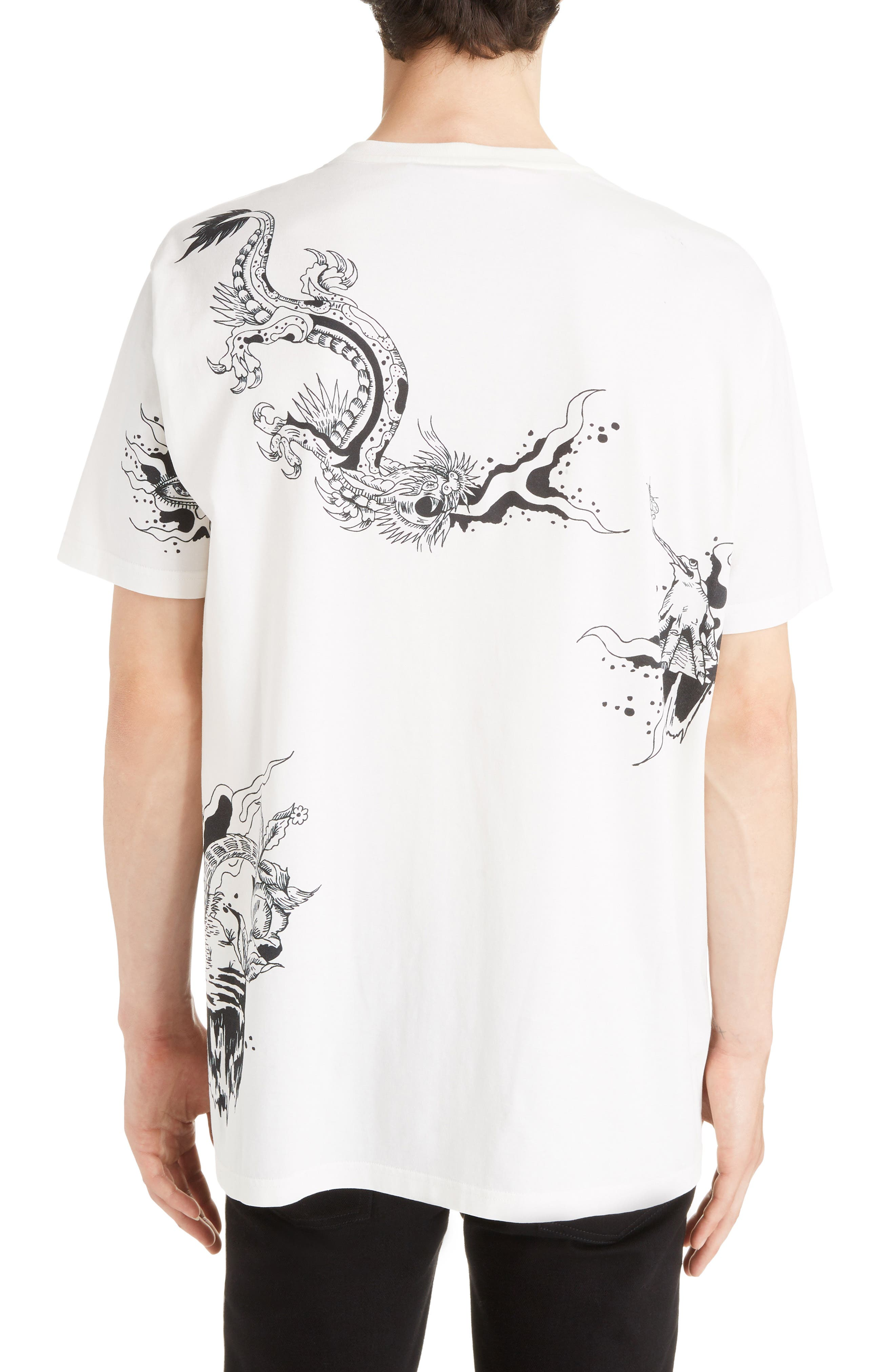 Dragon Print T-Shirt,                             Alternate thumbnail 2, color,                             OFF WHITE