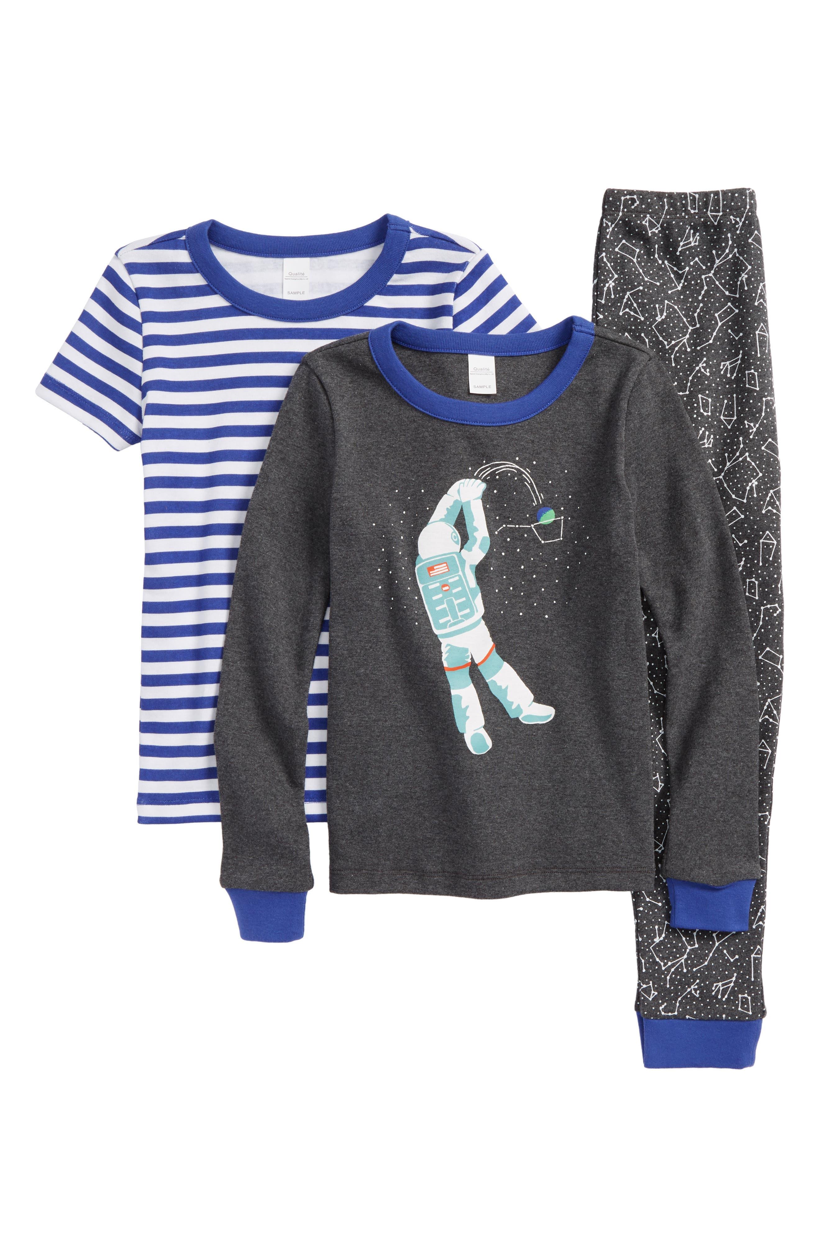 Fitted Three-Piece Pajamas,                         Main,                         color, 021