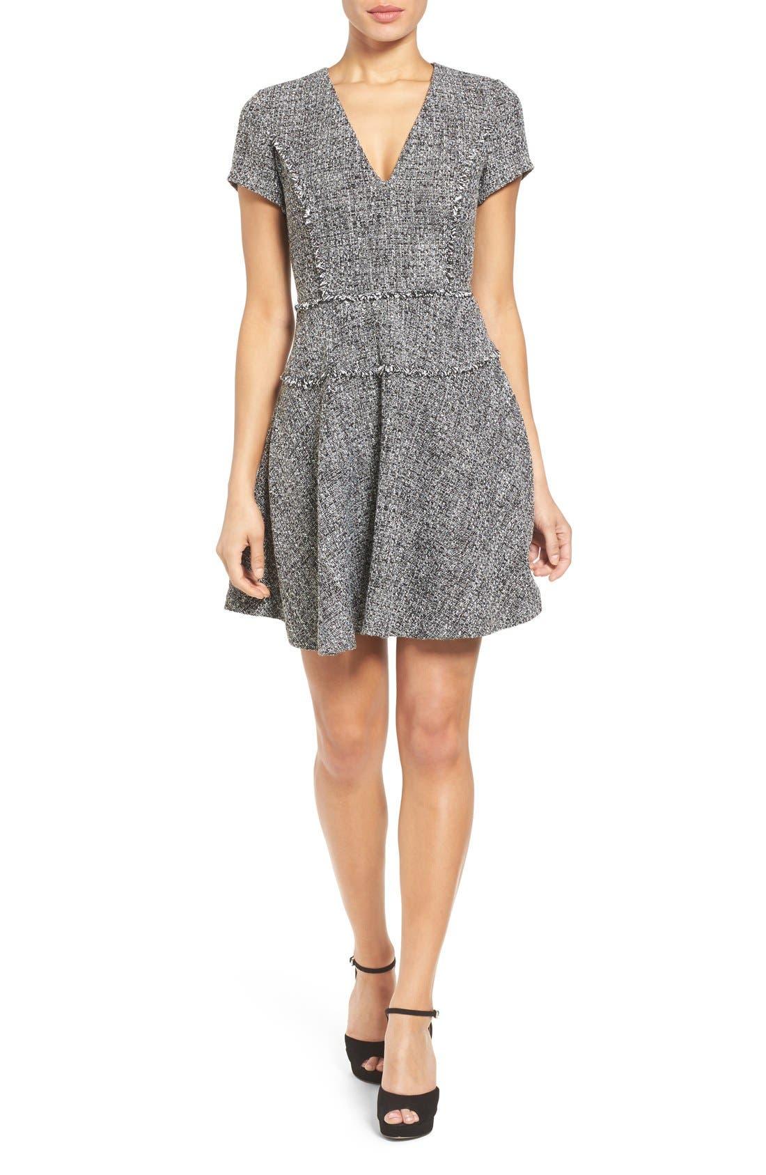 MICHAEL MICHAEL KORS,                             Tweed Fit & Flare Dress,                             Main thumbnail 1, color,                             001
