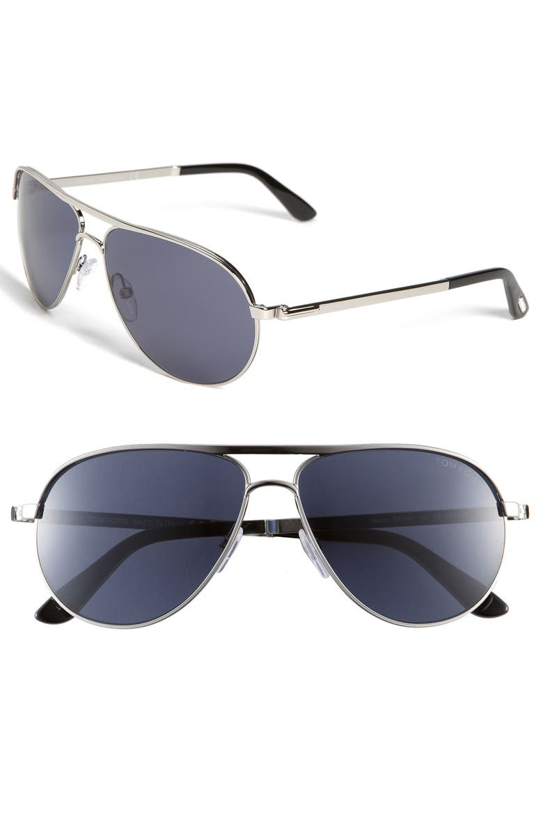 7ed8acea21bf Tom Ford  Marko  58Mm Metal Aviator Sunglasses - Shiny Rhodium  Blue.  Nordstrom