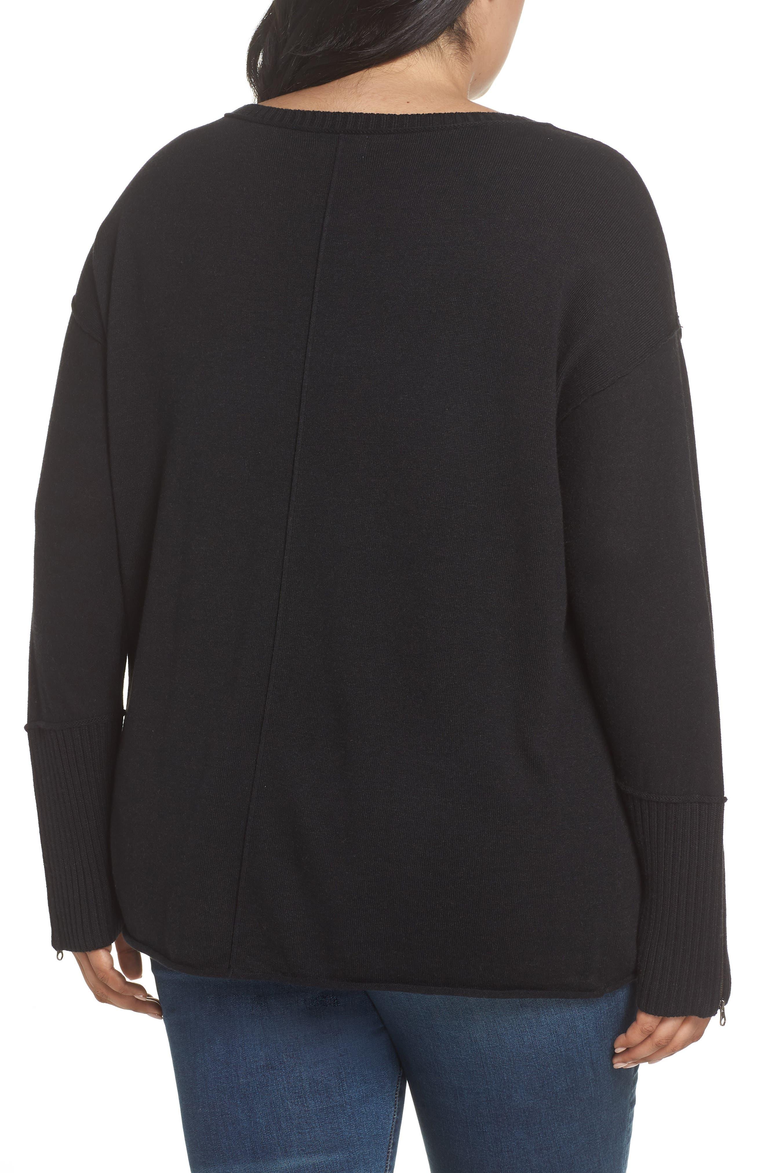 Mix Gauge Zip Cuff Sweater,                             Alternate thumbnail 2, color,                             001