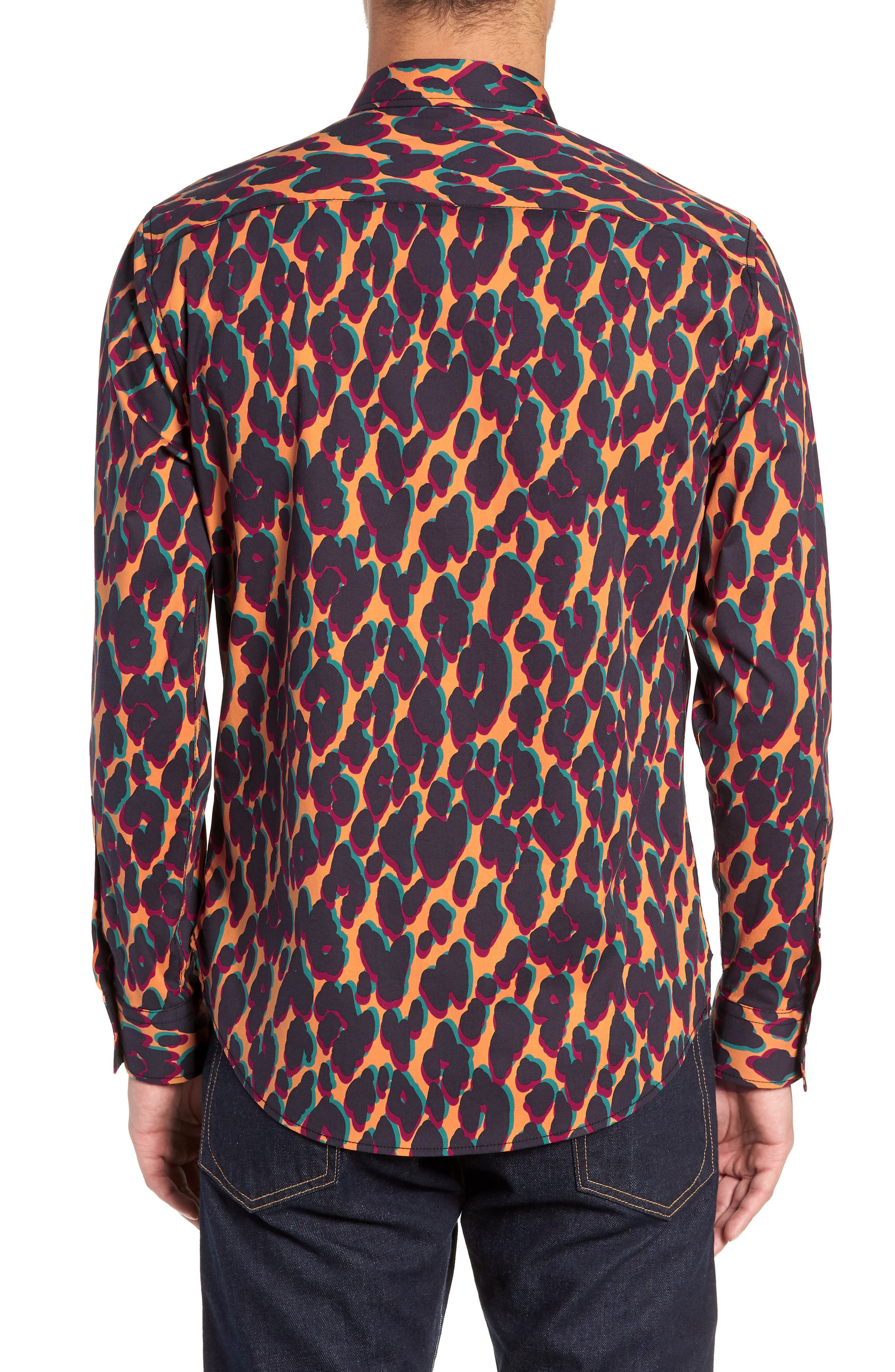 Leopard Print Sport Shirt,                             Alternate thumbnail 2, color,                             ORANGE LEOPARD OFFSET