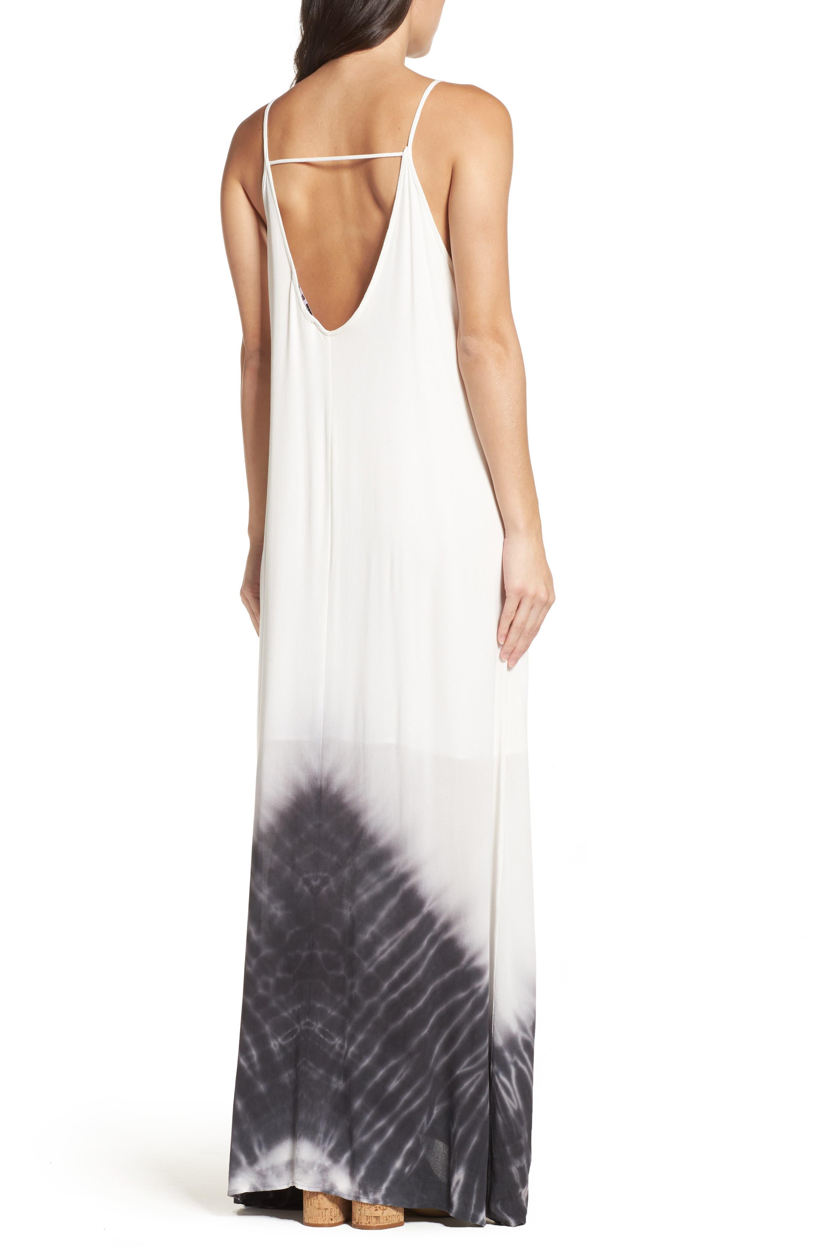 Border Print Crepe A-Line Maxi Dress,                             Alternate thumbnail 3, color,                             100