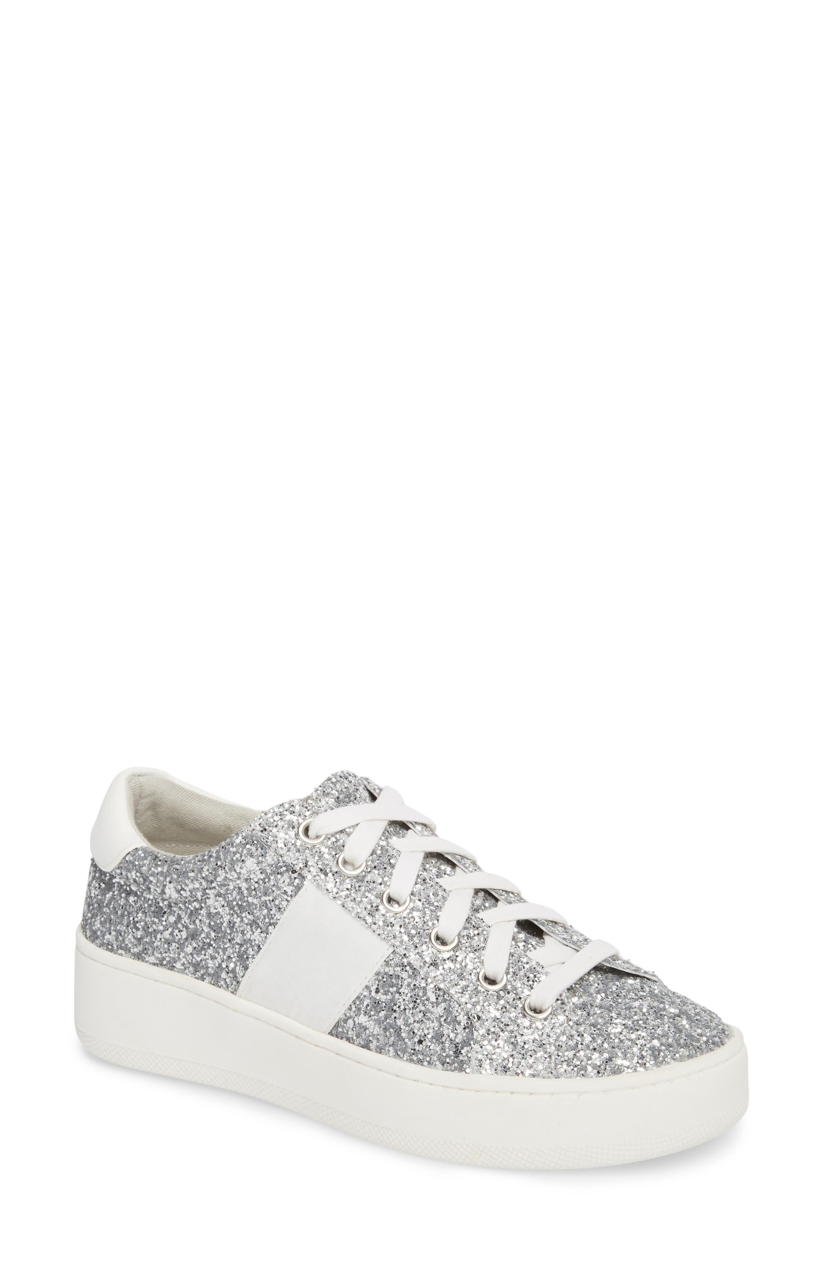 Belle-G Glitter Platform Sneaker,                         Main,                         color, SILVER GLITTER
