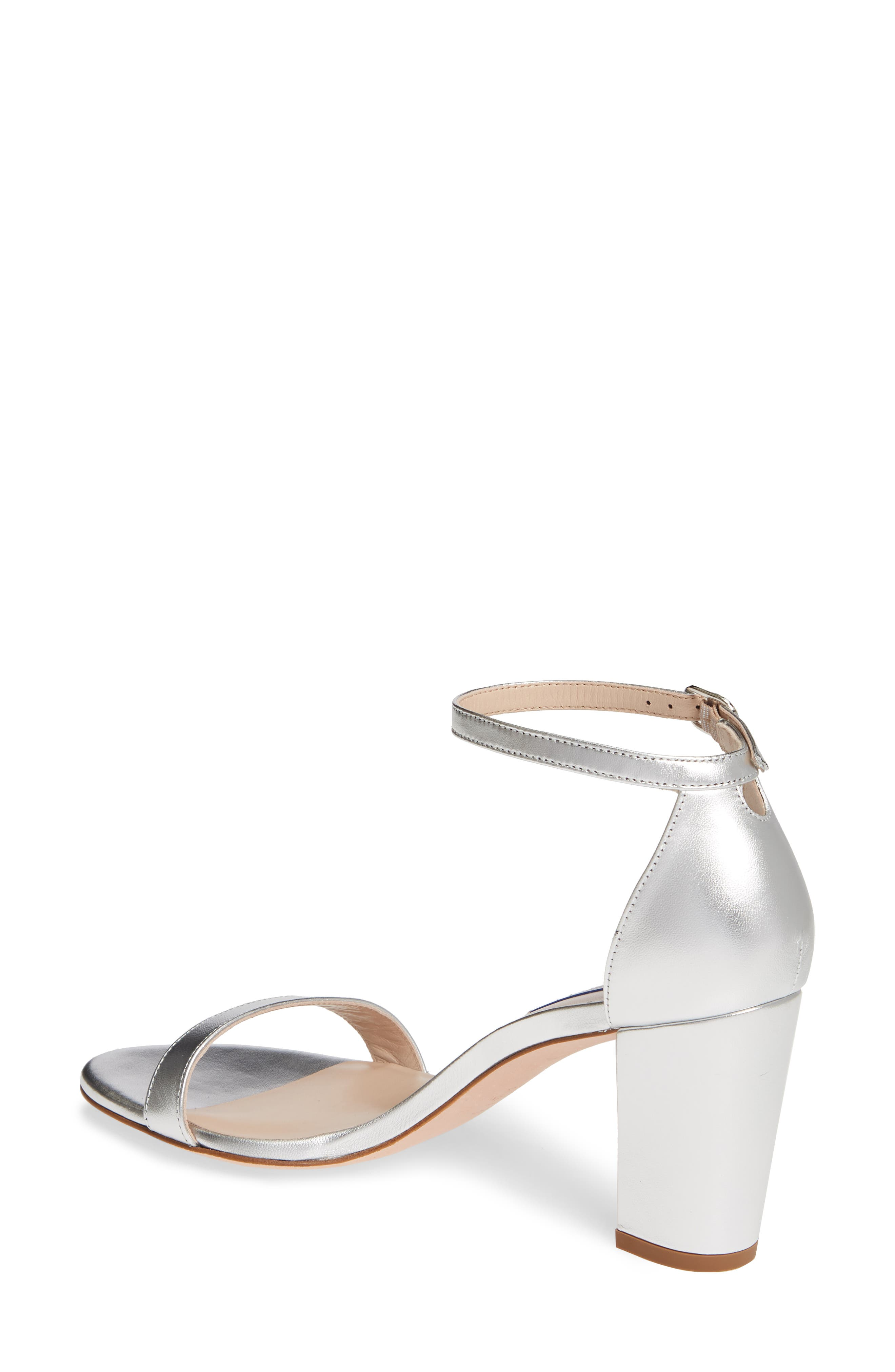 STUART WEITZMAN,                             NearlyNude Ankle Strap Sandal,                             Alternate thumbnail 2, color,                             SILVER METALLIC NAPPA