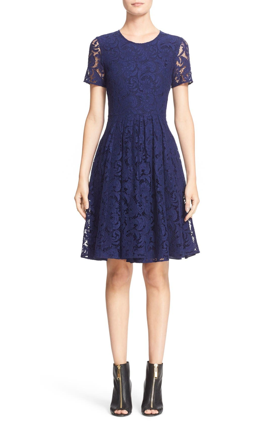 BURBERRY LONDON,                             'Alice' Short Sleeve Corded Lace Fit & Flare Dress,                             Main thumbnail 1, color,                             495