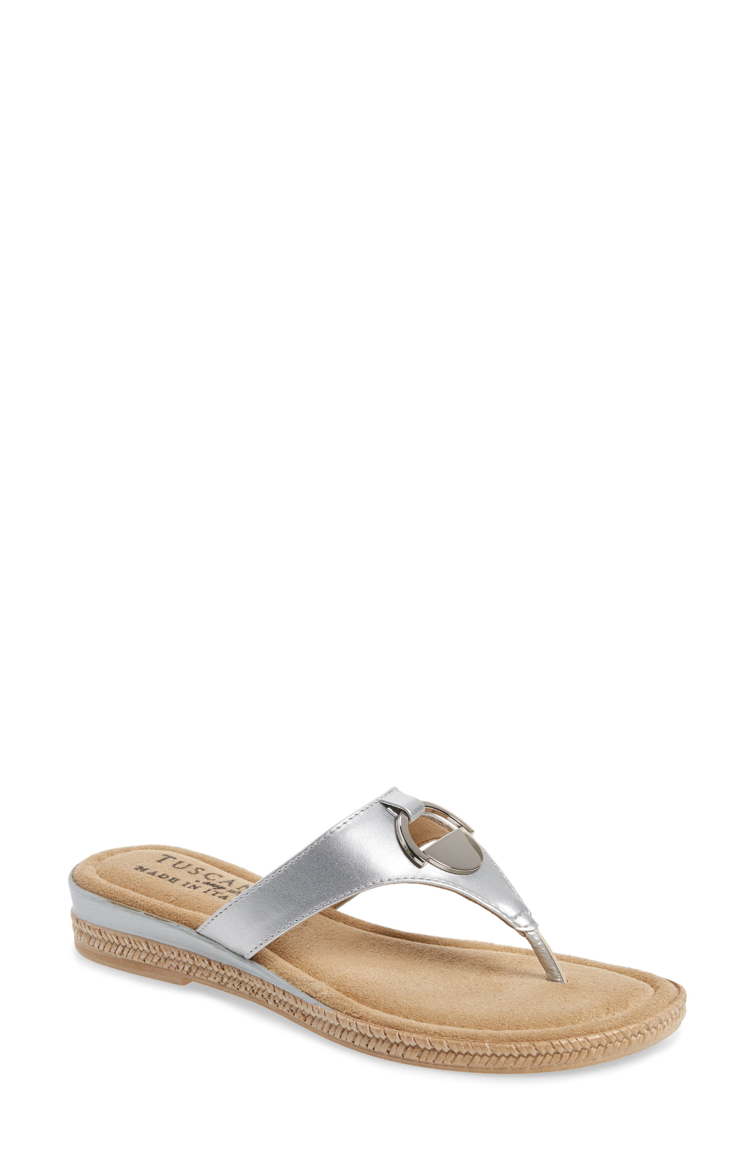 by Easy Street<sup>®</sup> Belinda Flip Flop,                             Main thumbnail 1, color,                             SILVER FAUX LEATHER
