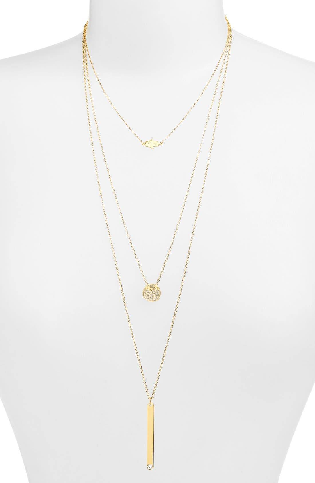 'Modern Metallics' 14k-Gold Plate Layered Necklace,                         Main,                         color,