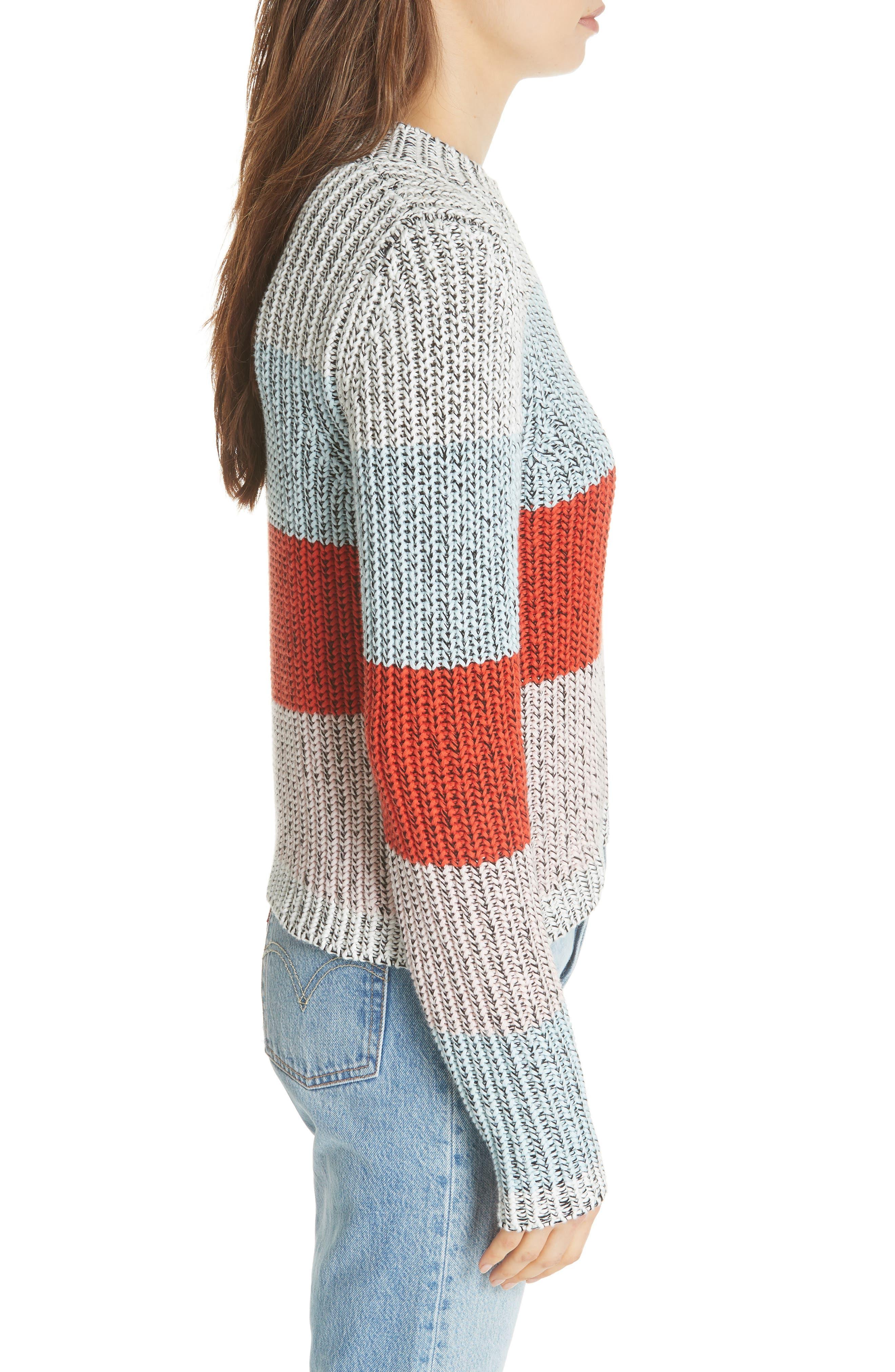 Chunky Crop Cotton Sweater,                             Alternate thumbnail 3, color,                             MULTI STRIPE