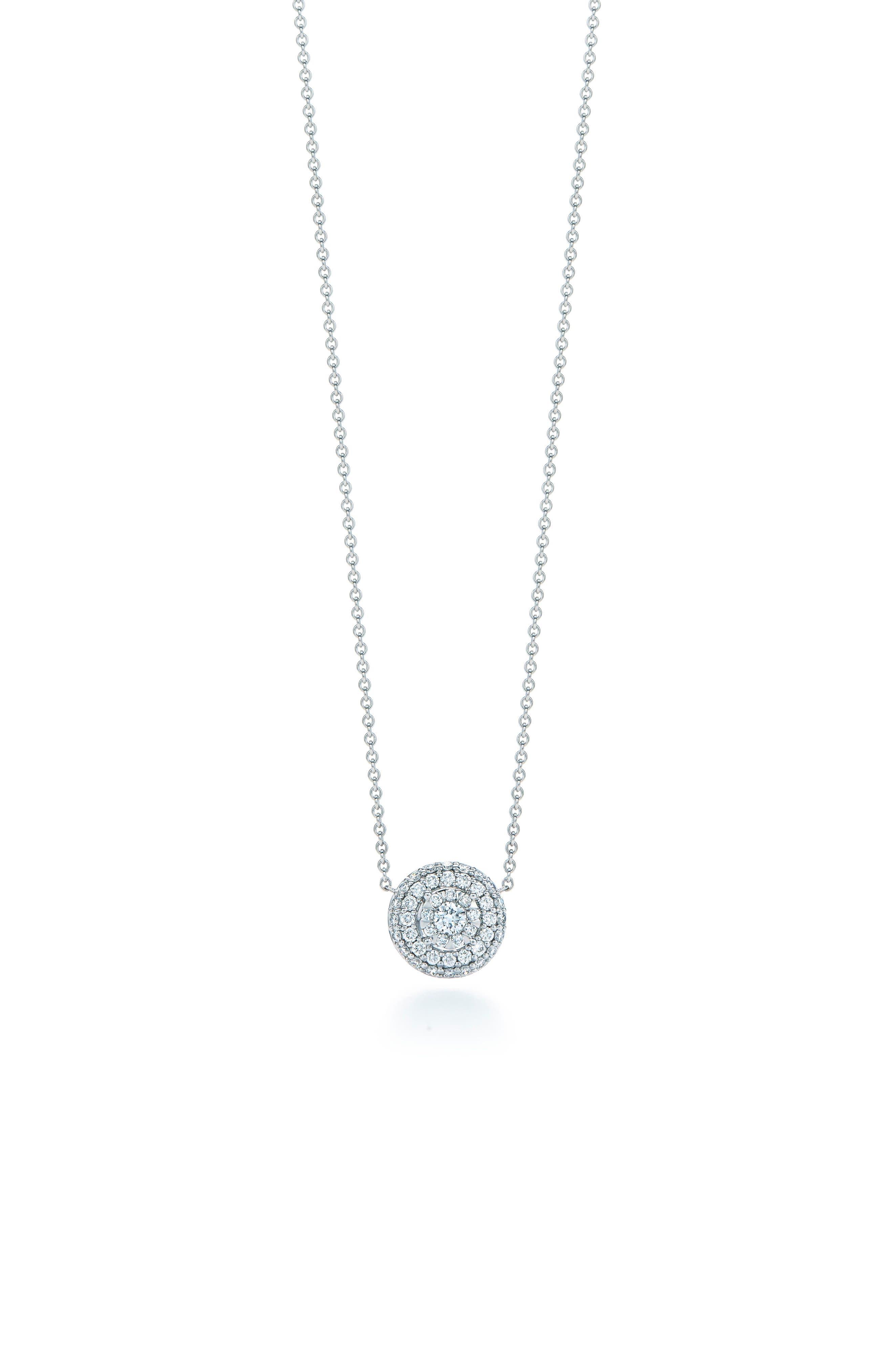 Sunburst Pavé Diamond Double Halo Pendant Necklace,                         Main,                         color, WHITE GOLD
