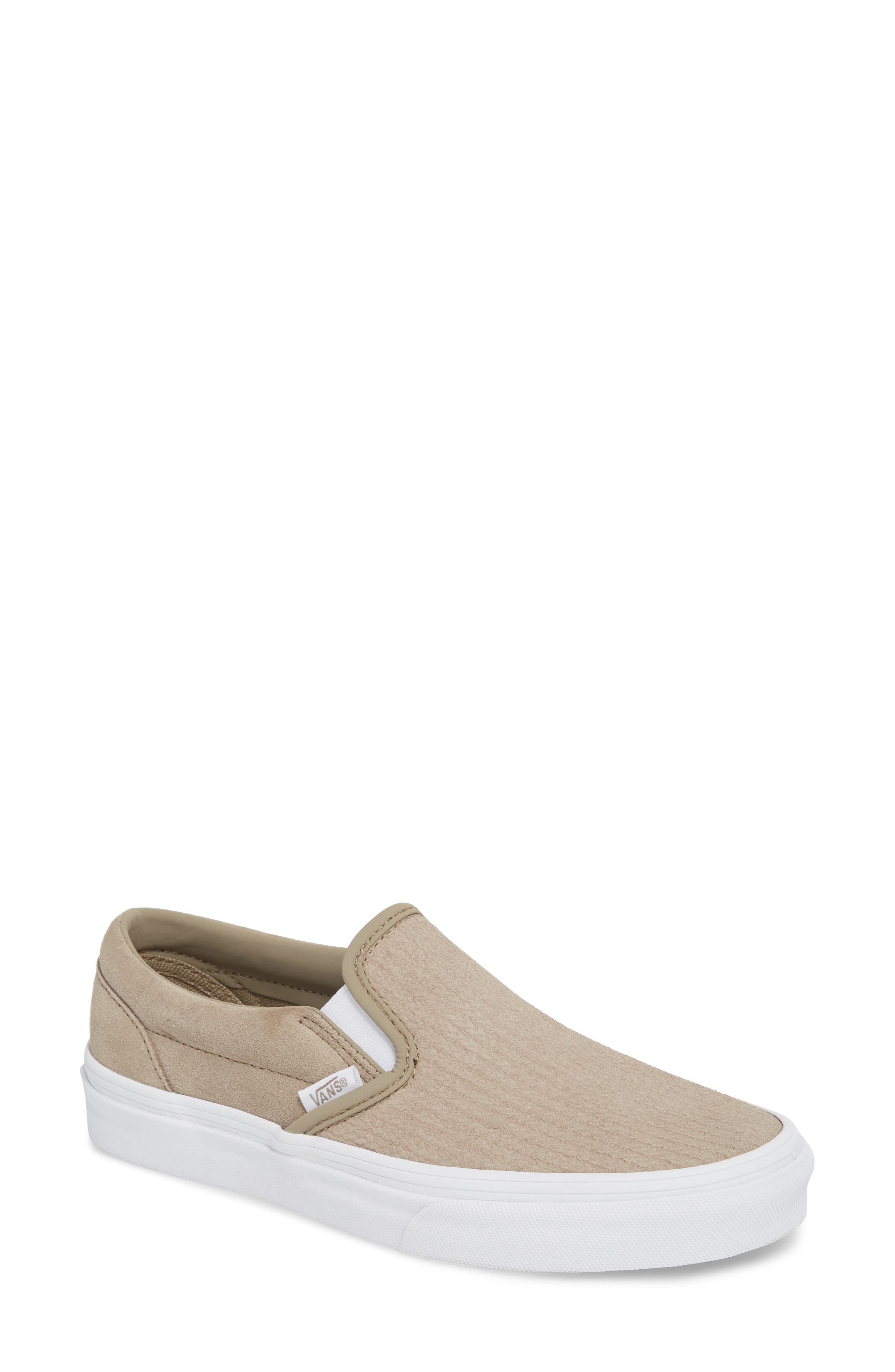 Classic Slip-On Sneaker,                             Main thumbnail 1, color,                             DESERT TAUPE/ EMBOSS SUEDE