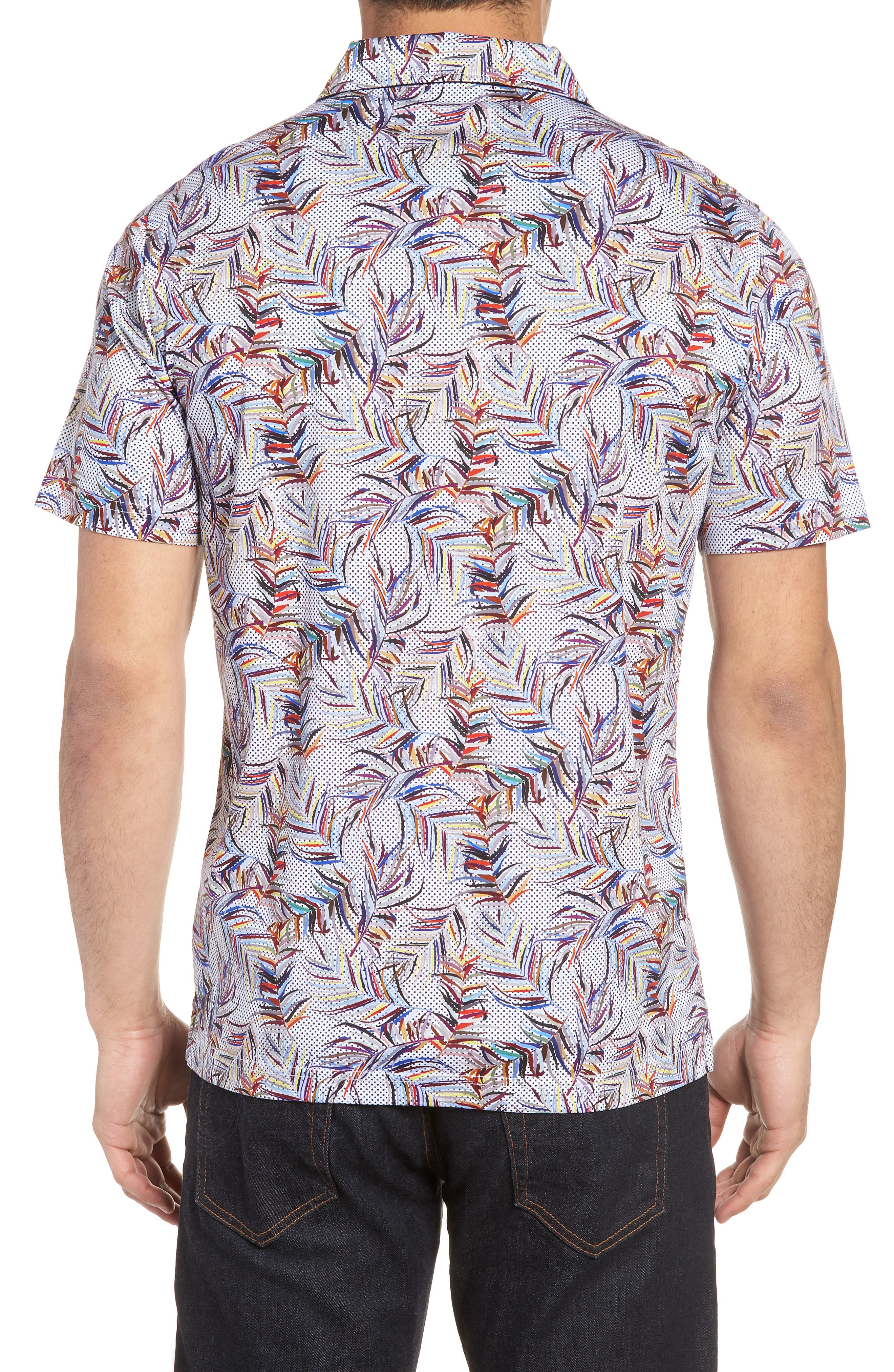 BUGATCHI,                             Multicolor Frond Print Polo,                             Alternate thumbnail 2, color,                             CANDY