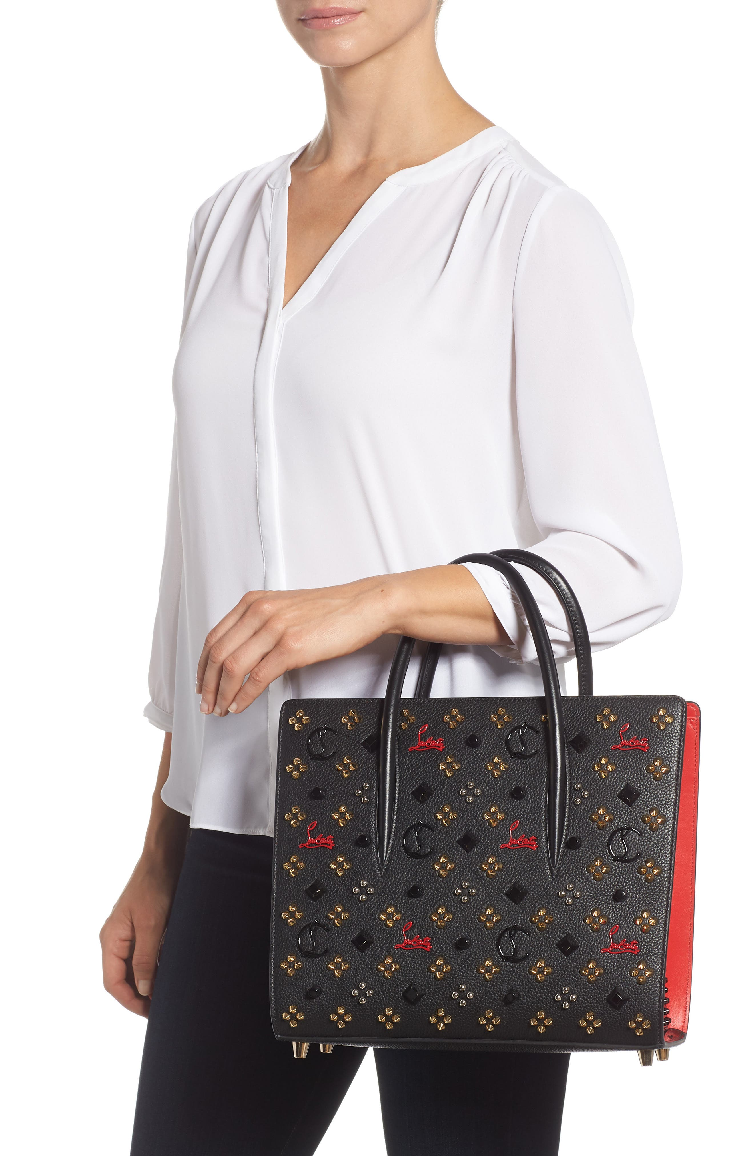 Medium Paloma Leather Tote,                             Alternate thumbnail 2, color,                             BLACK/ RED-GOLD