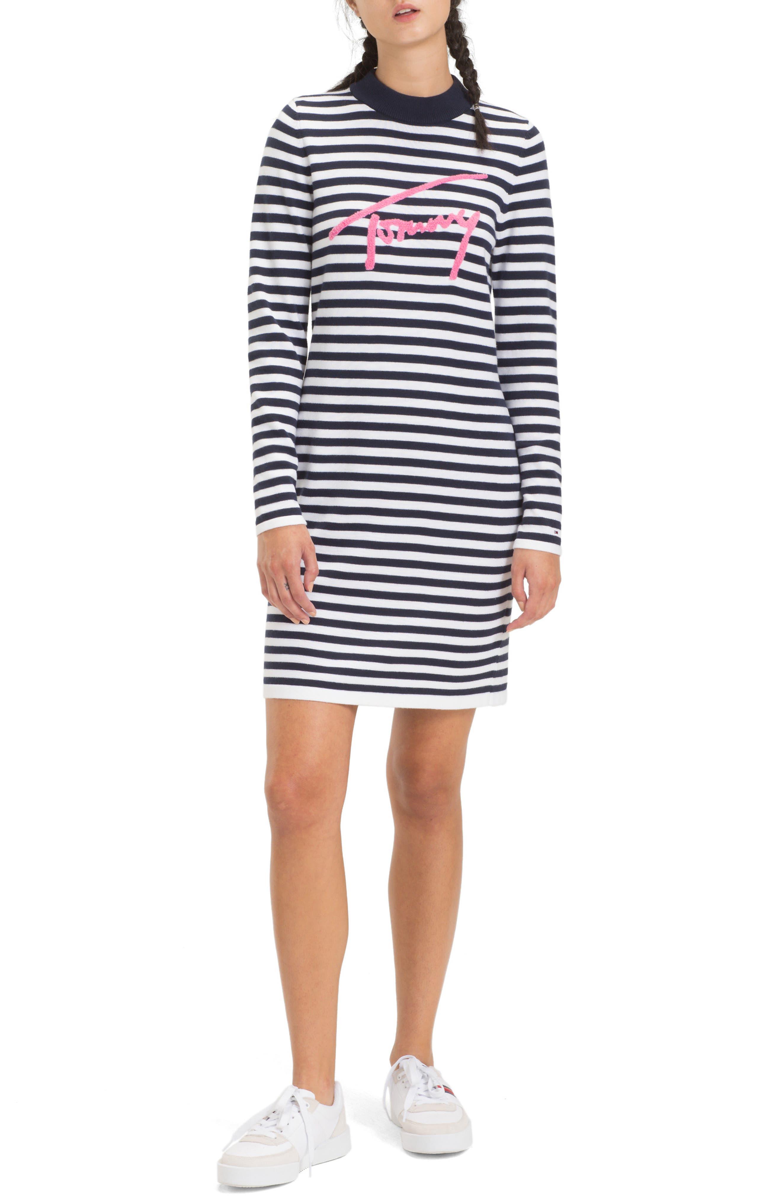 TJW Chenille Logo Stripe Dress,                             Main thumbnail 1, color,                             BLACK IRIS / CLASSIC WHITE