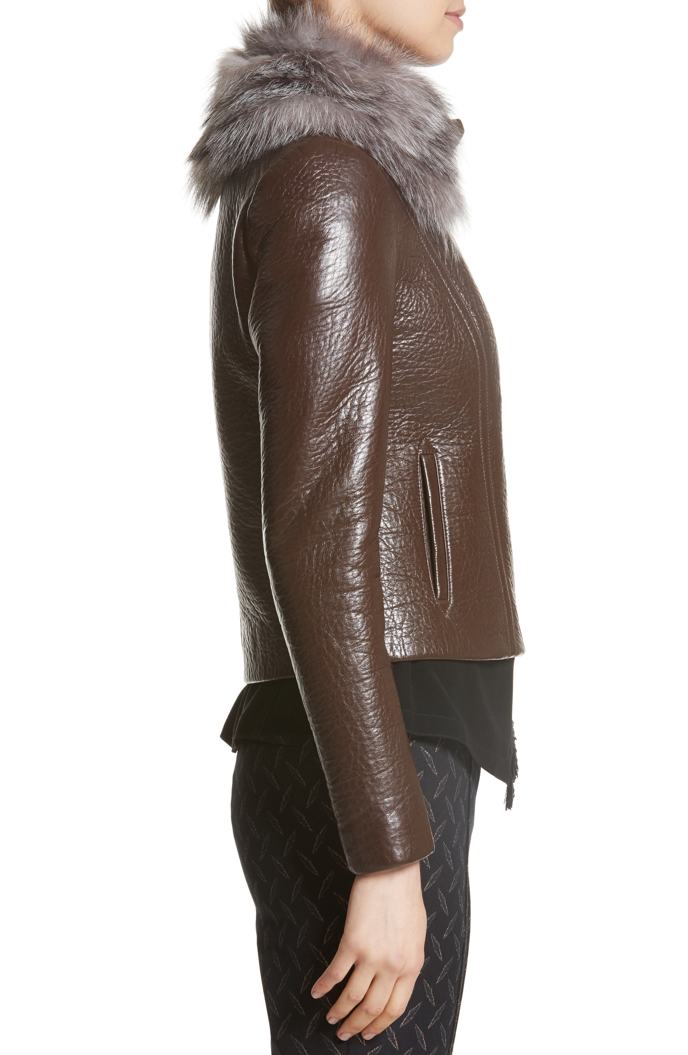 Bonded Moto Leather Jacket with Removable Genuine Fox Fur Collar,                             Alternate thumbnail 3, color,                             219