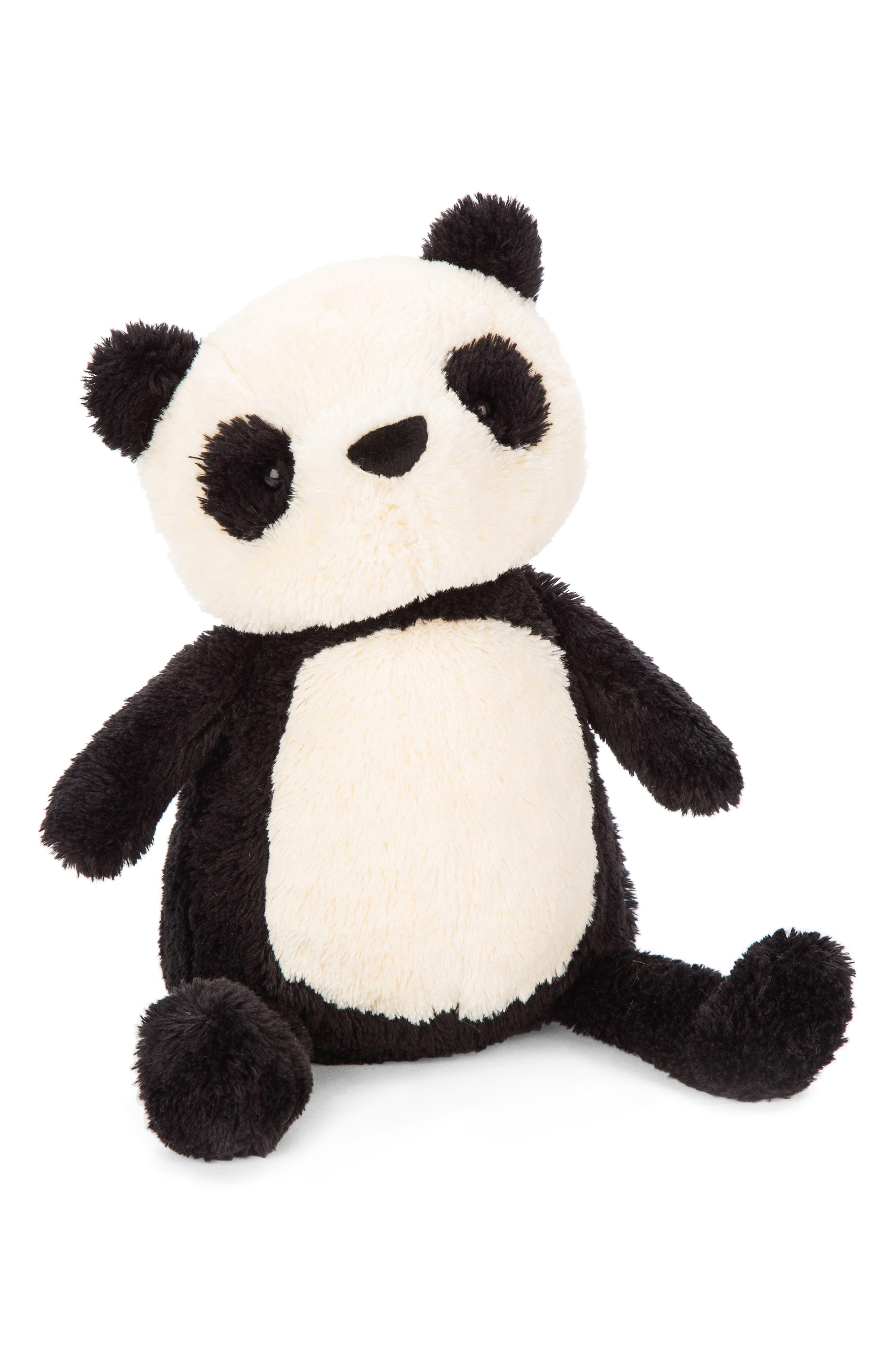 Medium Pippet Panda Stuffed Animal,                             Main thumbnail 1, color,                             BLACK / WHITE