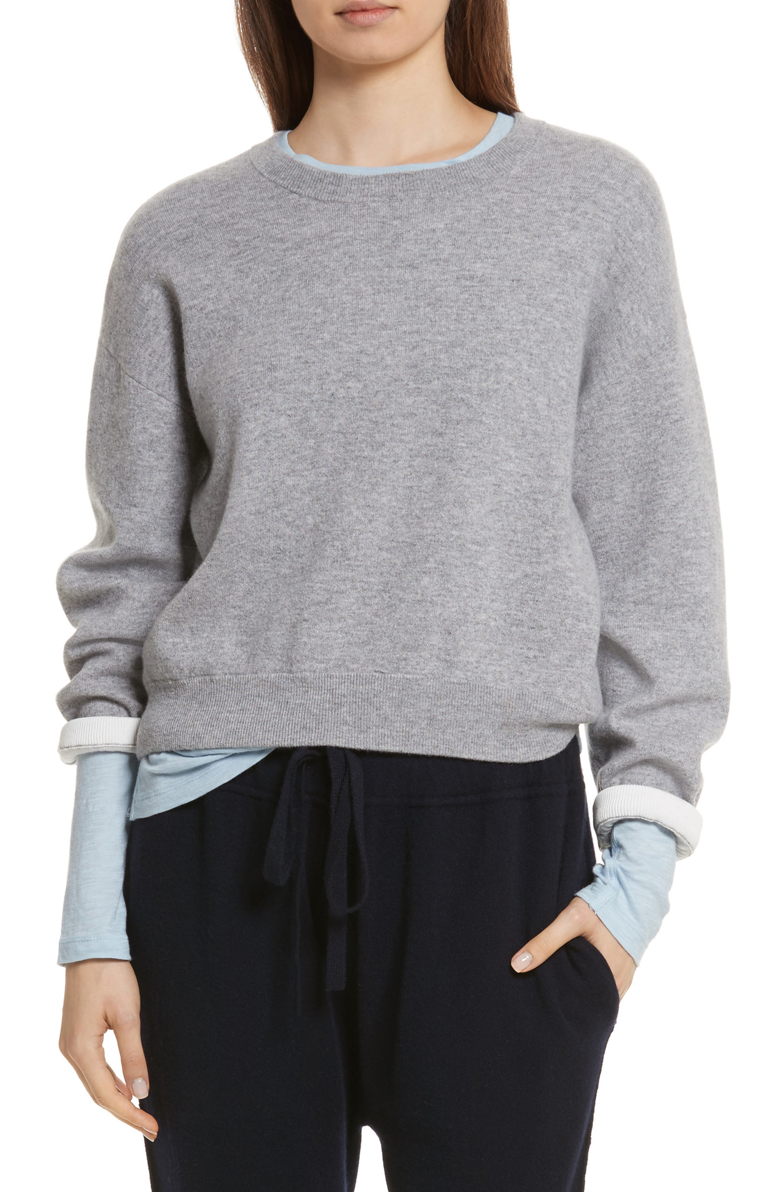Double Layer Cashmere & Cotton Sweater,                             Main thumbnail 1, color,                             081