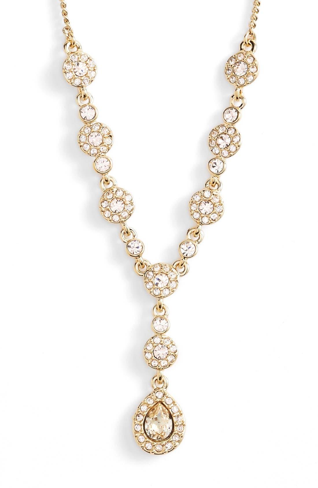 Pavé Crystal Y-Necklace,                             Alternate thumbnail 2, color,                             GOLD