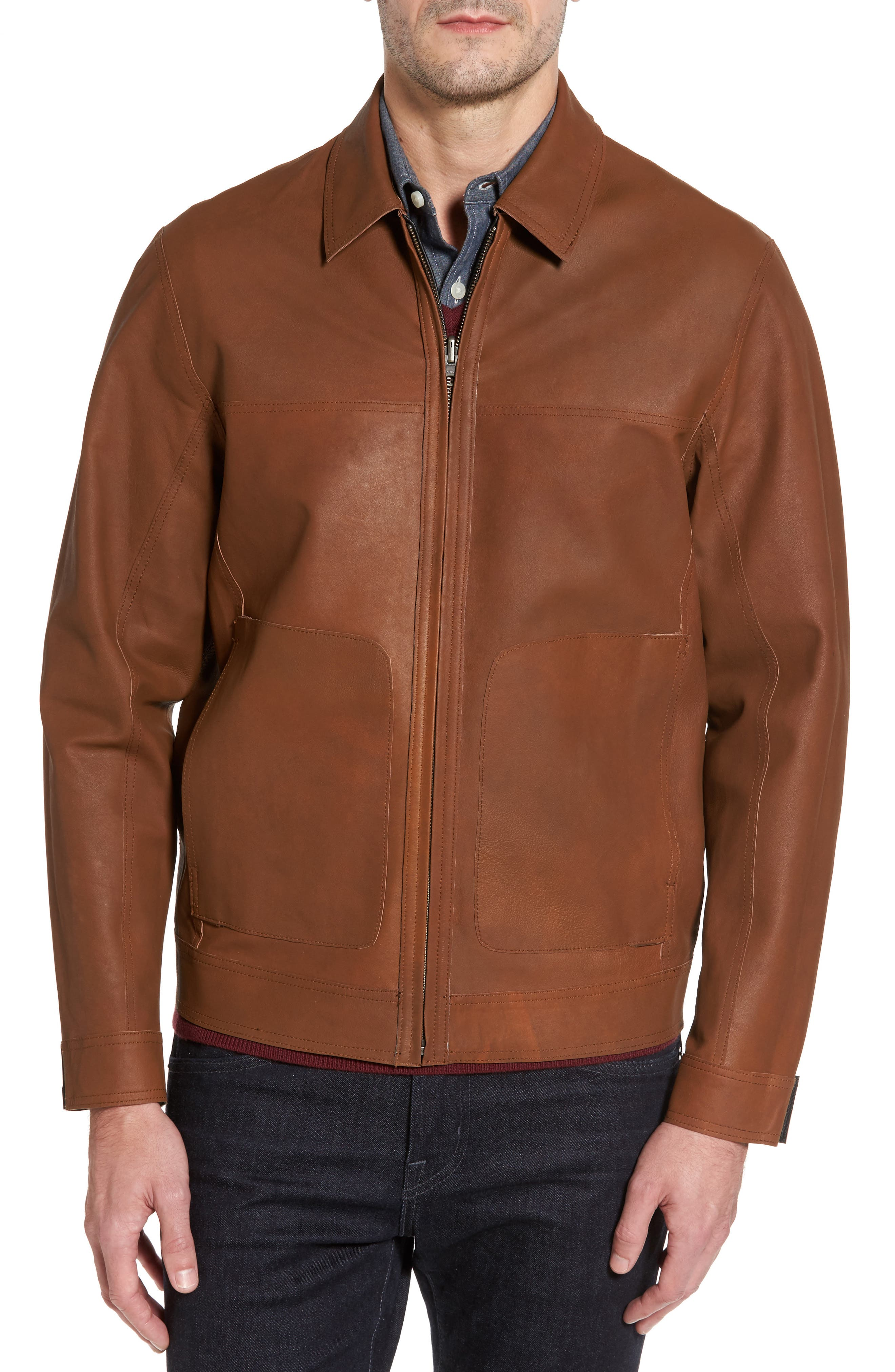 Reversible Leather Jacket,                             Alternate thumbnail 4, color,