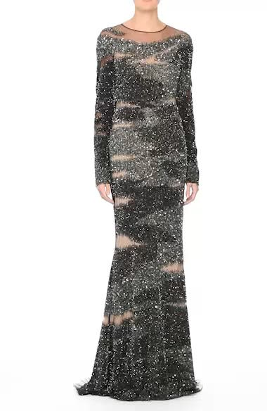 Brushstroke Sequin Long Sleeve Gown, video thumbnail