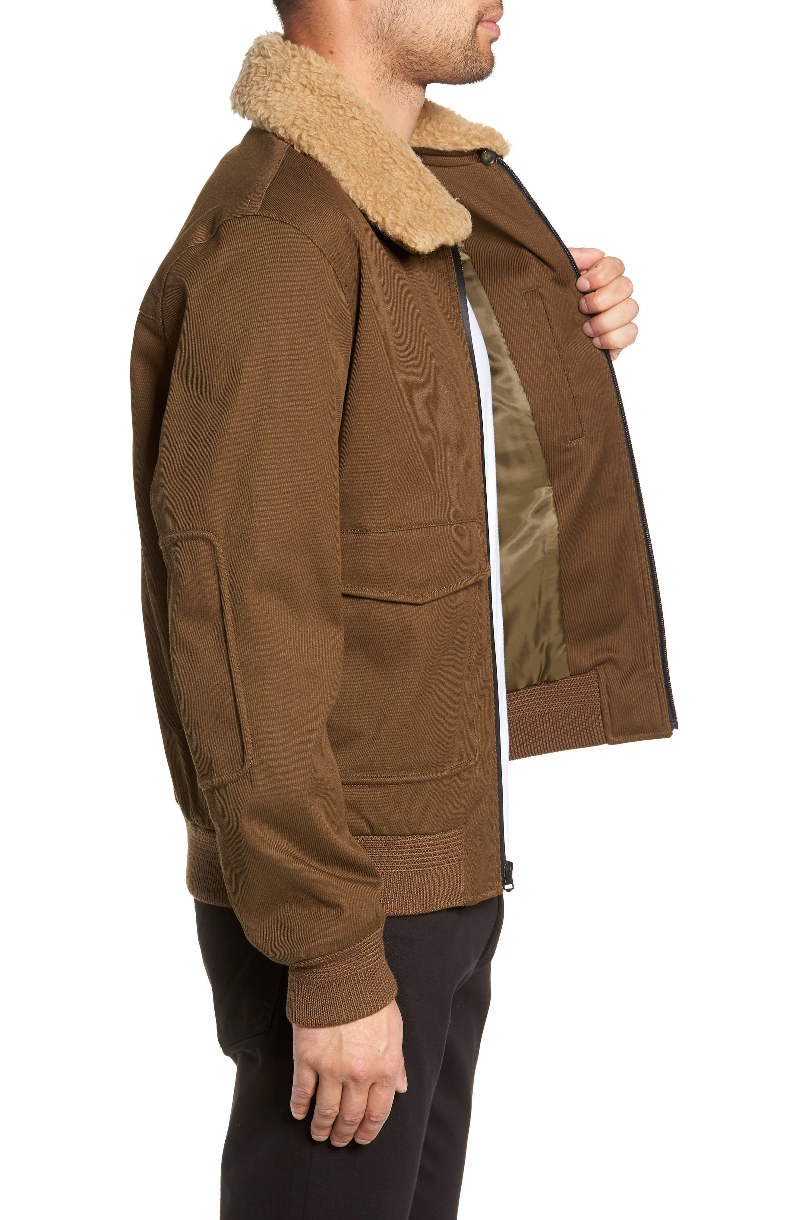 Regular Fit Bomber Jacket with Faux Shearling Collar,                             Alternate thumbnail 3, color,                             INFANTRY GREEN
