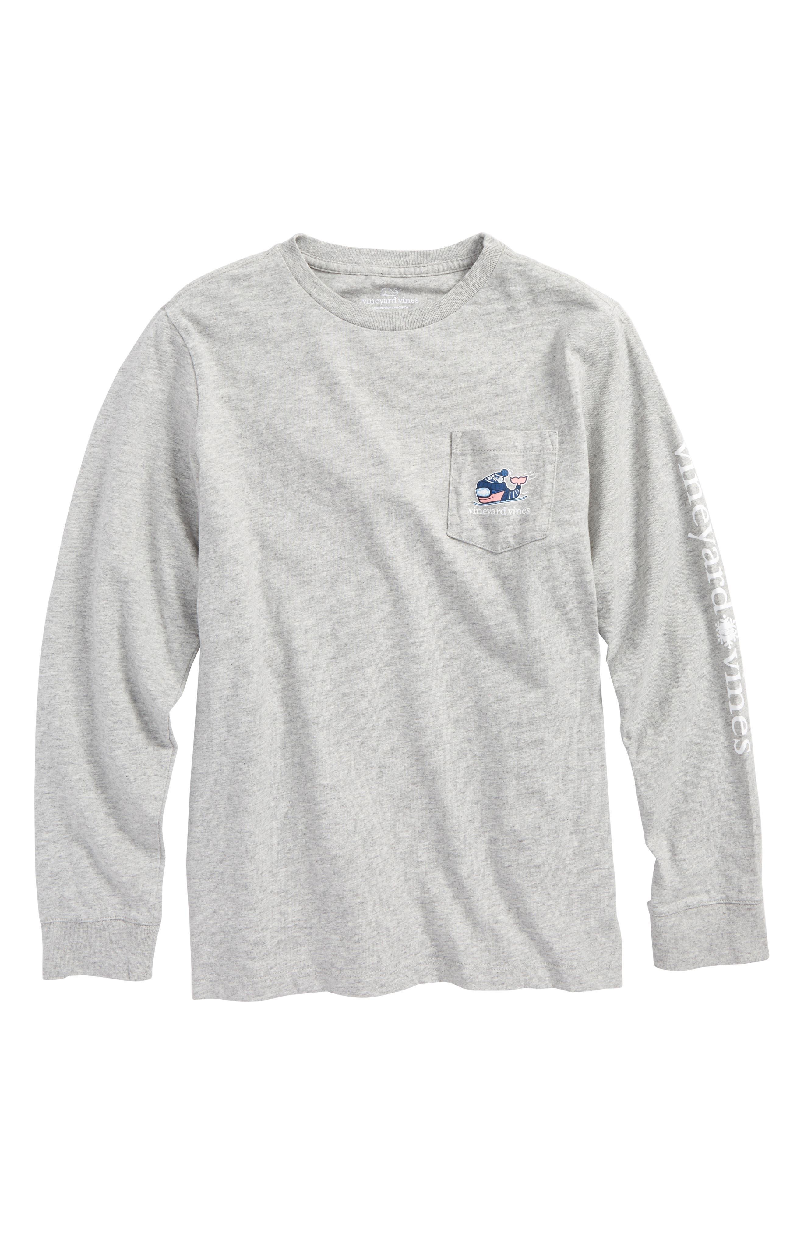 Downhill Ski Whale Pocket T-Shirt, Main, color, 039