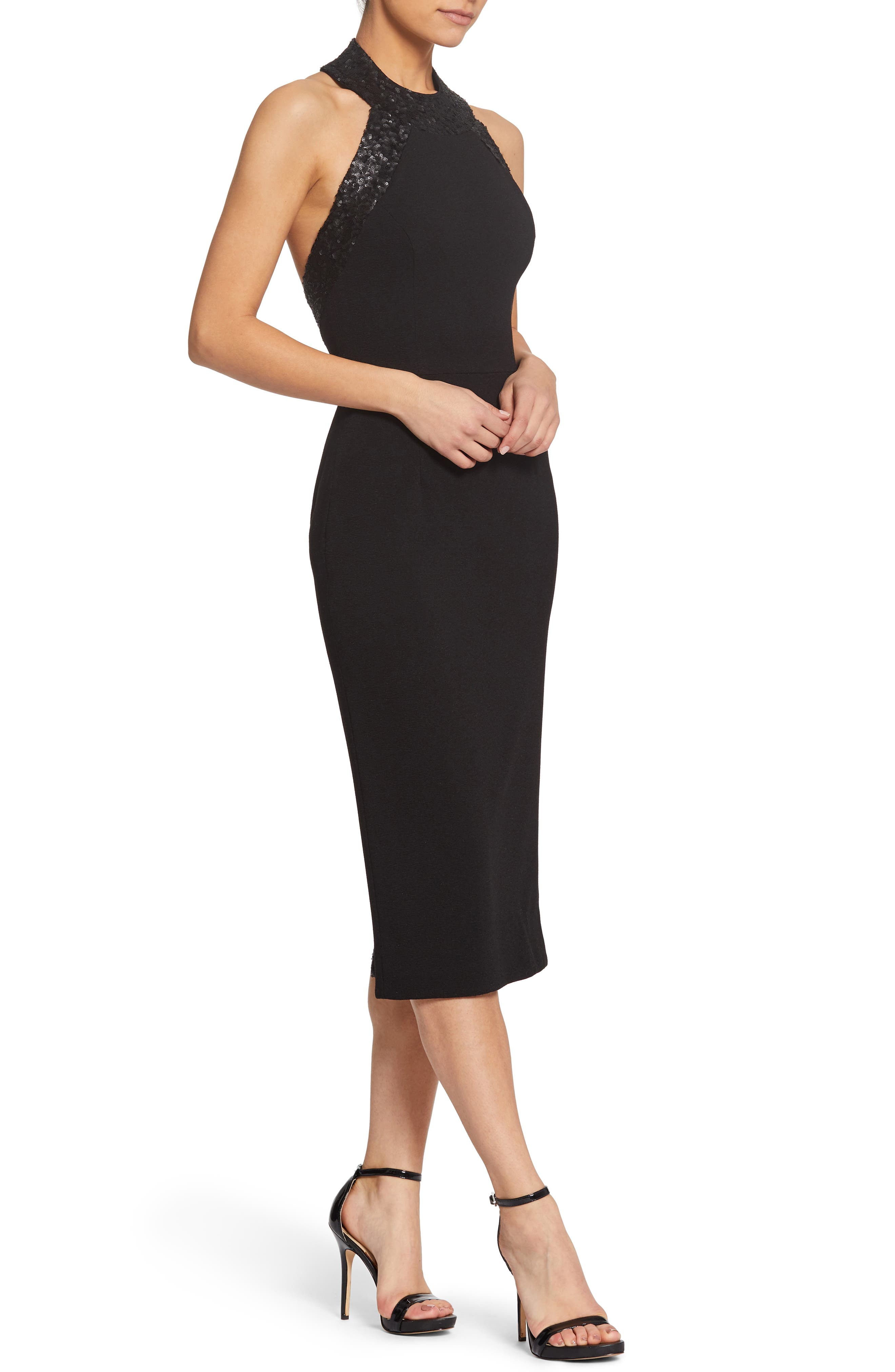 Cleo Halter Dress,                             Alternate thumbnail 4, color,                             BLACK/ BLACK