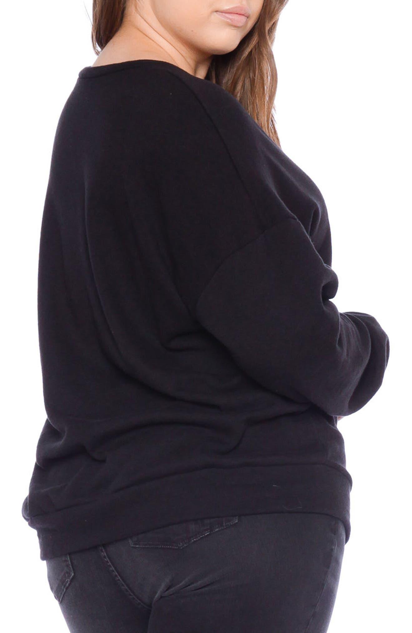 SLINK JEANS,                             I Am the One Oversize Sweatshirt,                             Alternate thumbnail 2, color,                             BLACK