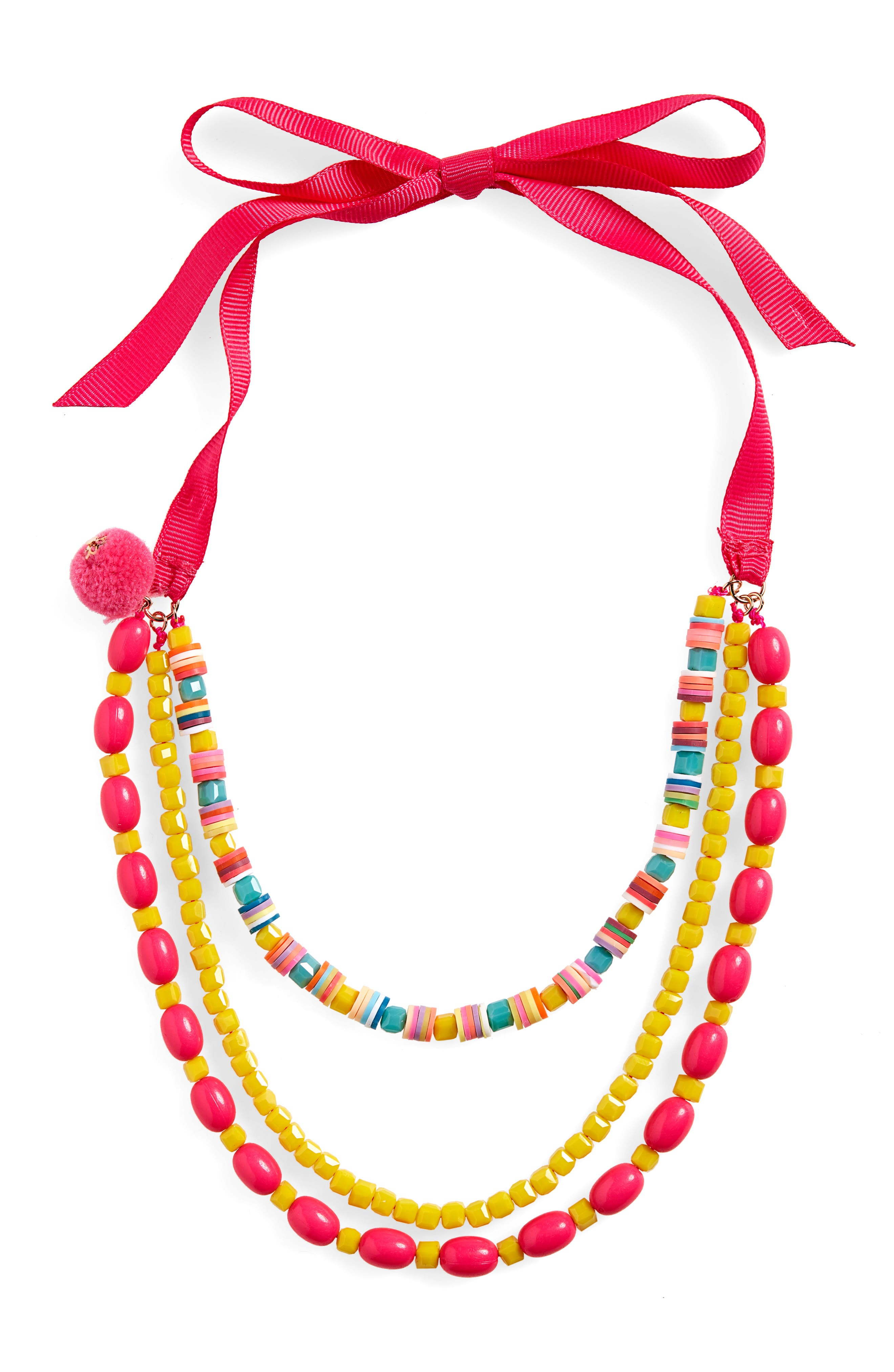 Layered Beaded Necklace,                             Main thumbnail 1, color,                             PINK MULTI