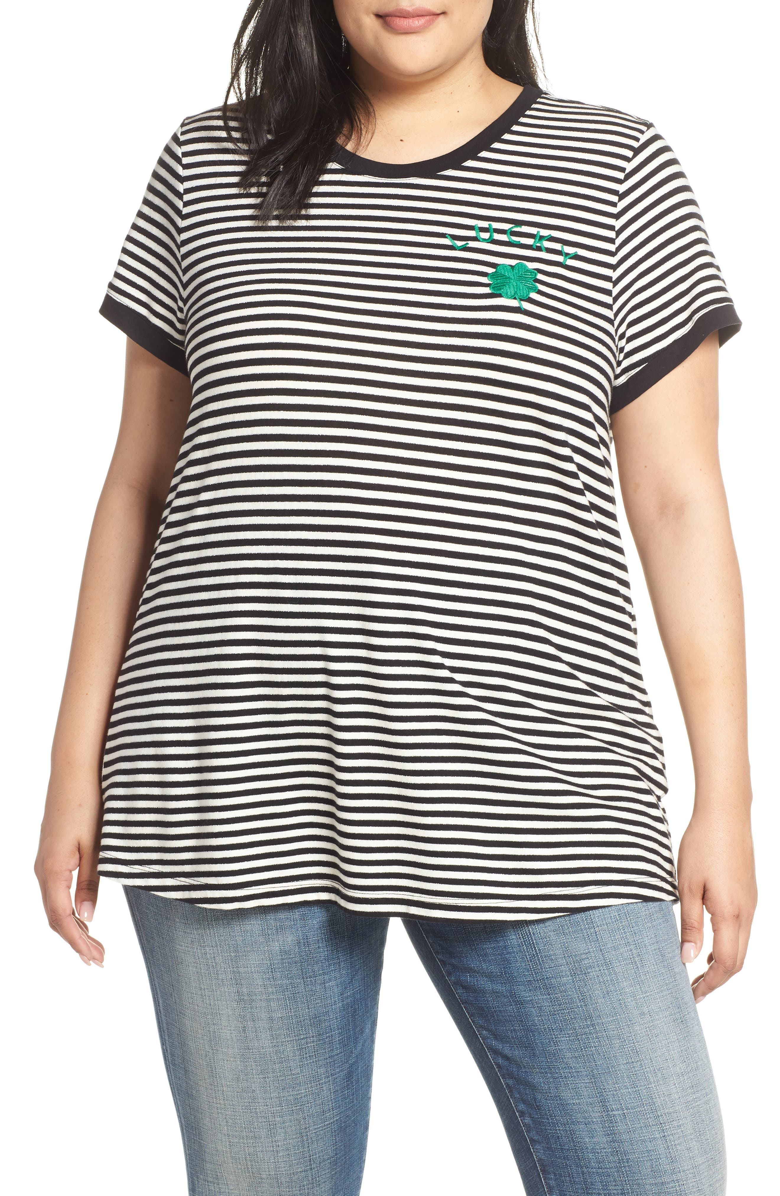 Embroidered Clover Stripe Tee,                             Main thumbnail 1, color,                             BLACK STRIPE