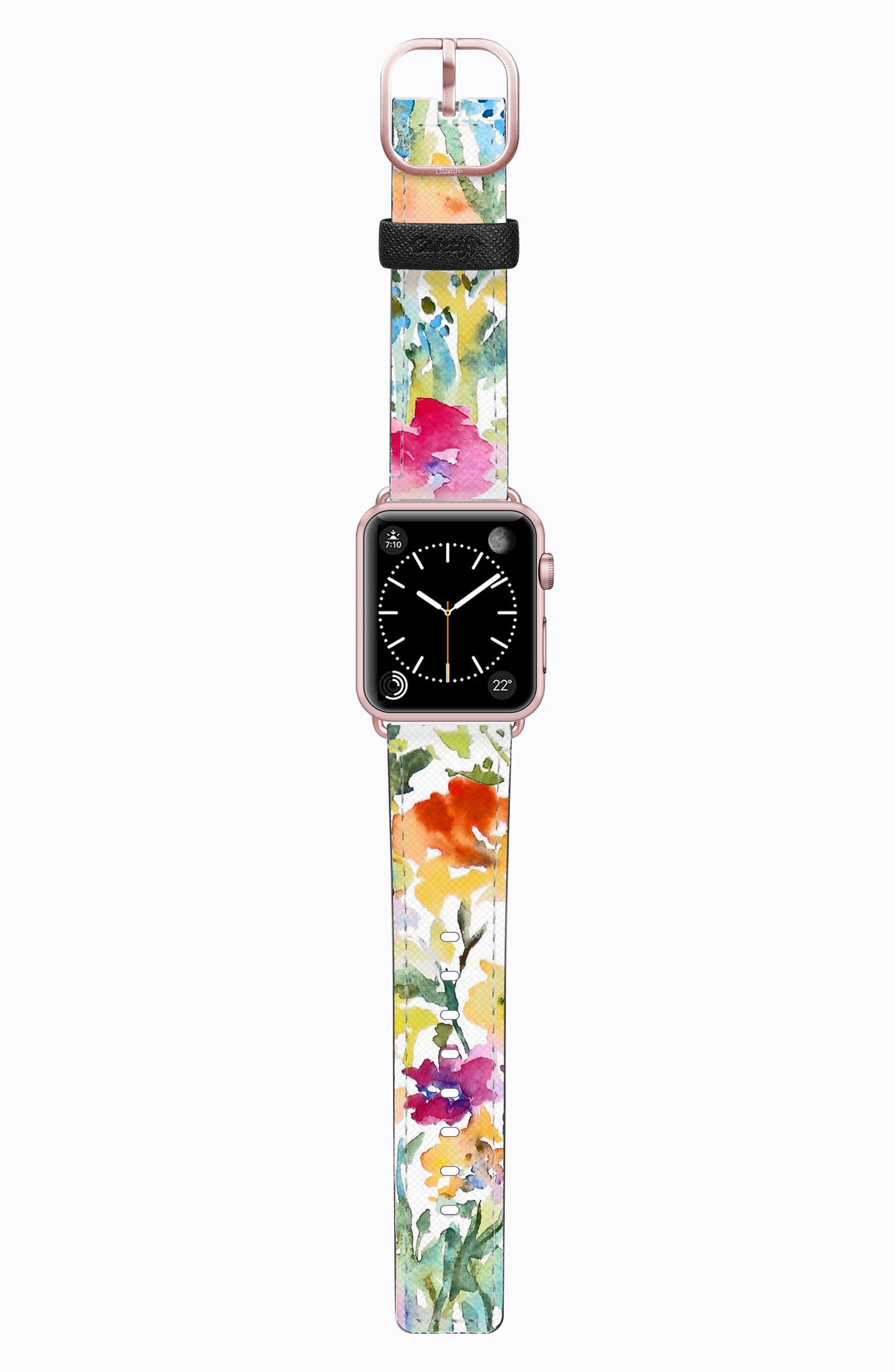 Saffiano Faux Leather Apple Watch Strap,                             Main thumbnail 9, color,