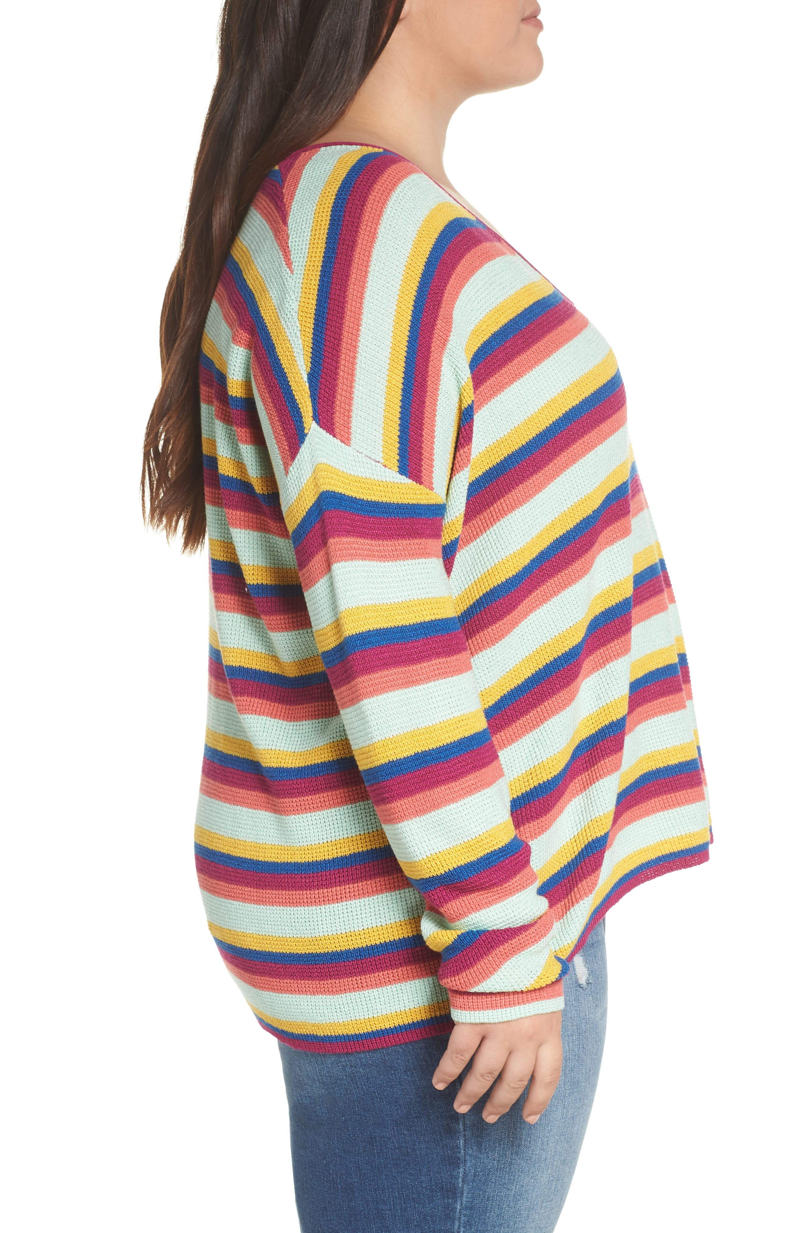 BP.,                             Stripe Thermal Stitch Sweater,                             Alternate thumbnail 9, color,                             PINK YARROW EMMA STRIPE