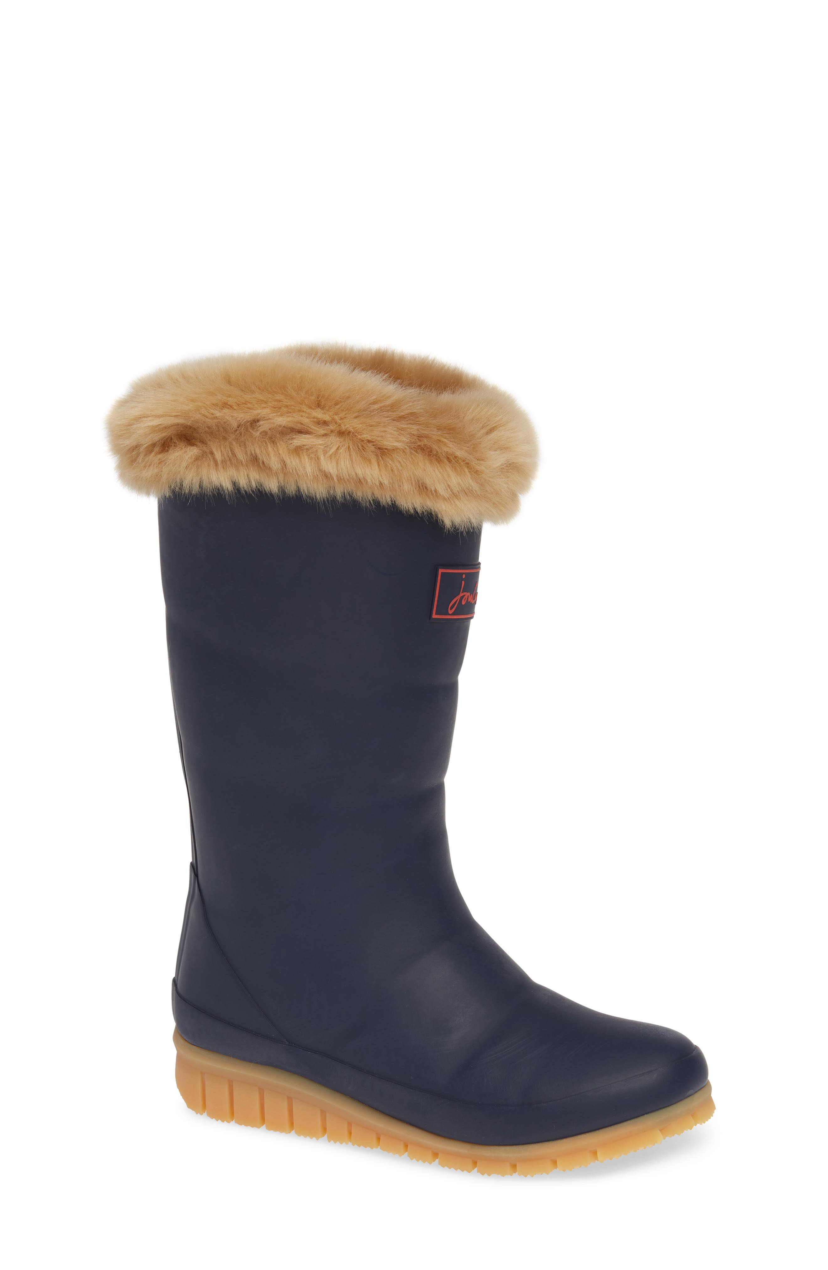 Padded Welly Waterproof Rain Boot with Faux Fur Trim, Main, color, FRENCH NAVY